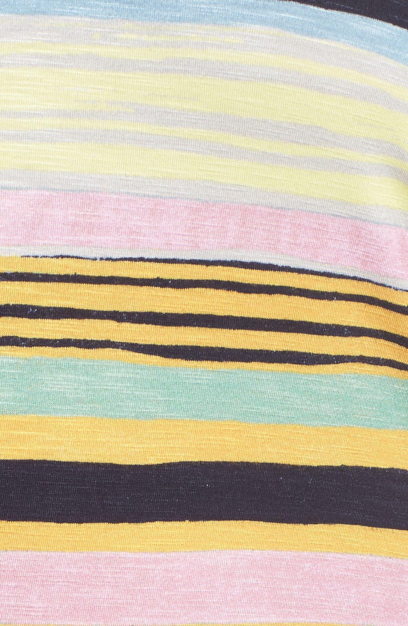 Asymmetrical Cinched Stripe Dress,                             Alternate thumbnail 5, color,                             NAVY COMBO