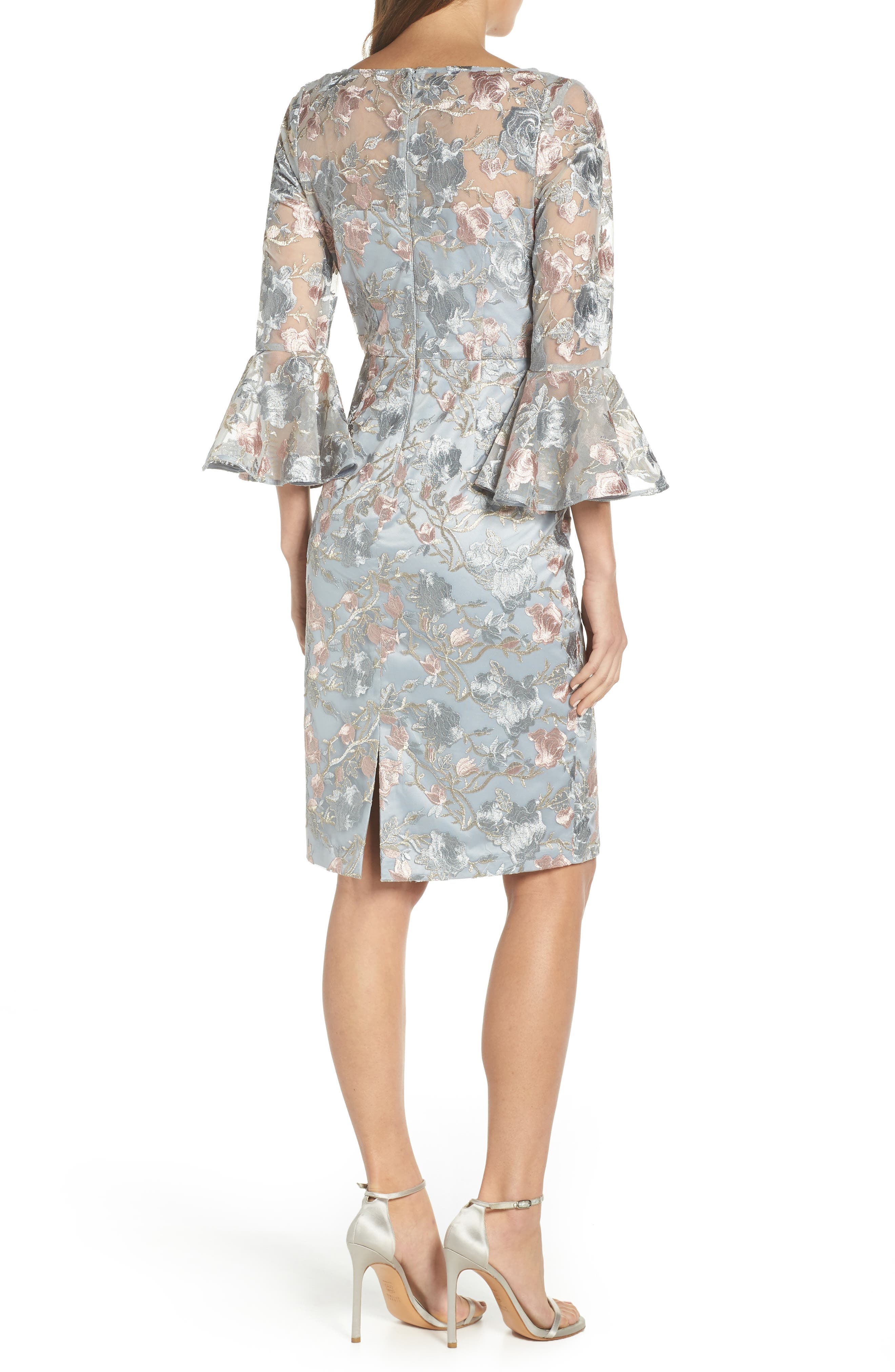 Floral Embroidered Sheath Dress,                             Alternate thumbnail 2, color,                             BLUE