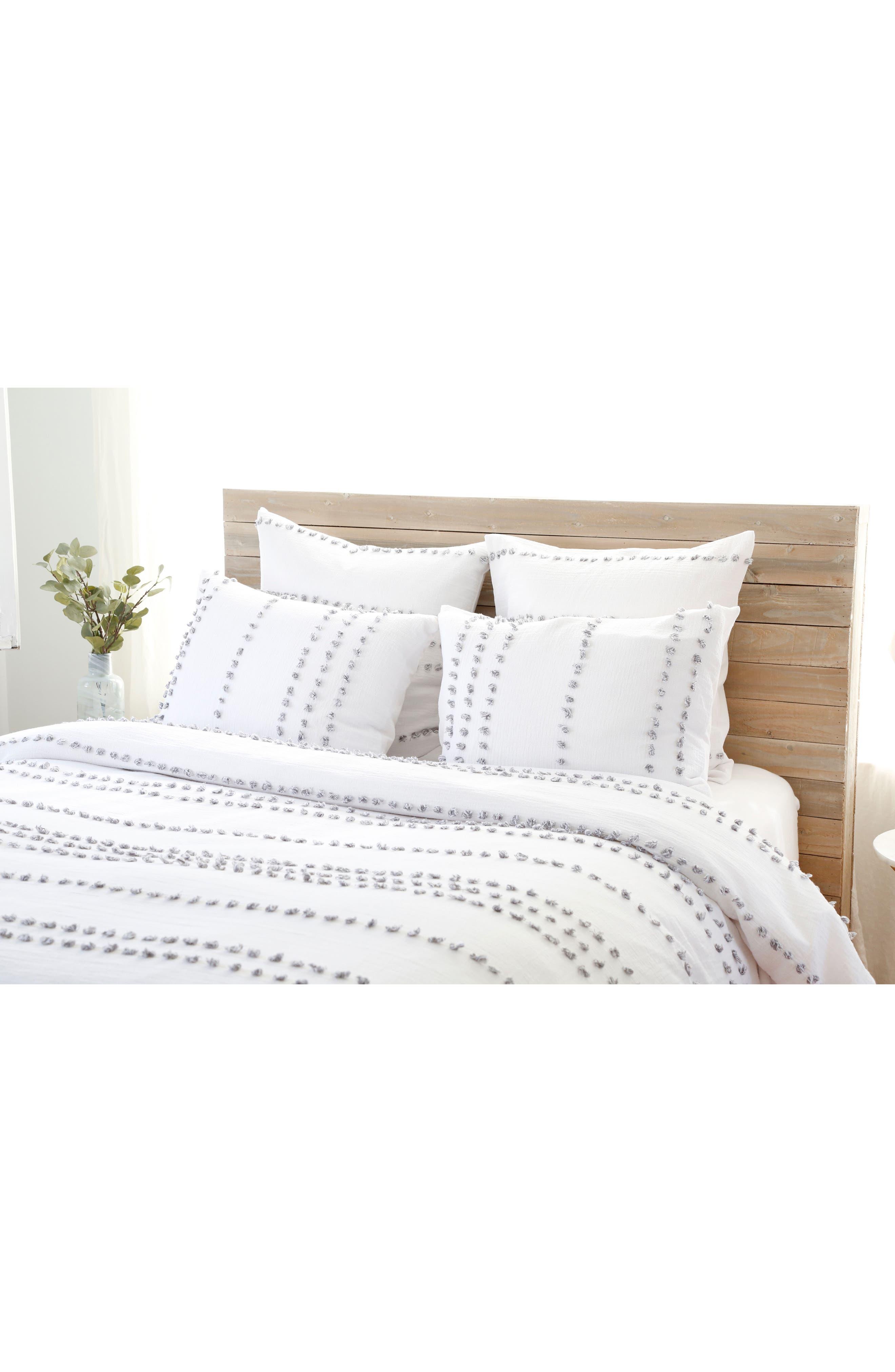 Poppy Blanket & Sham Set,                         Main,                         color, WHITE/ GREY