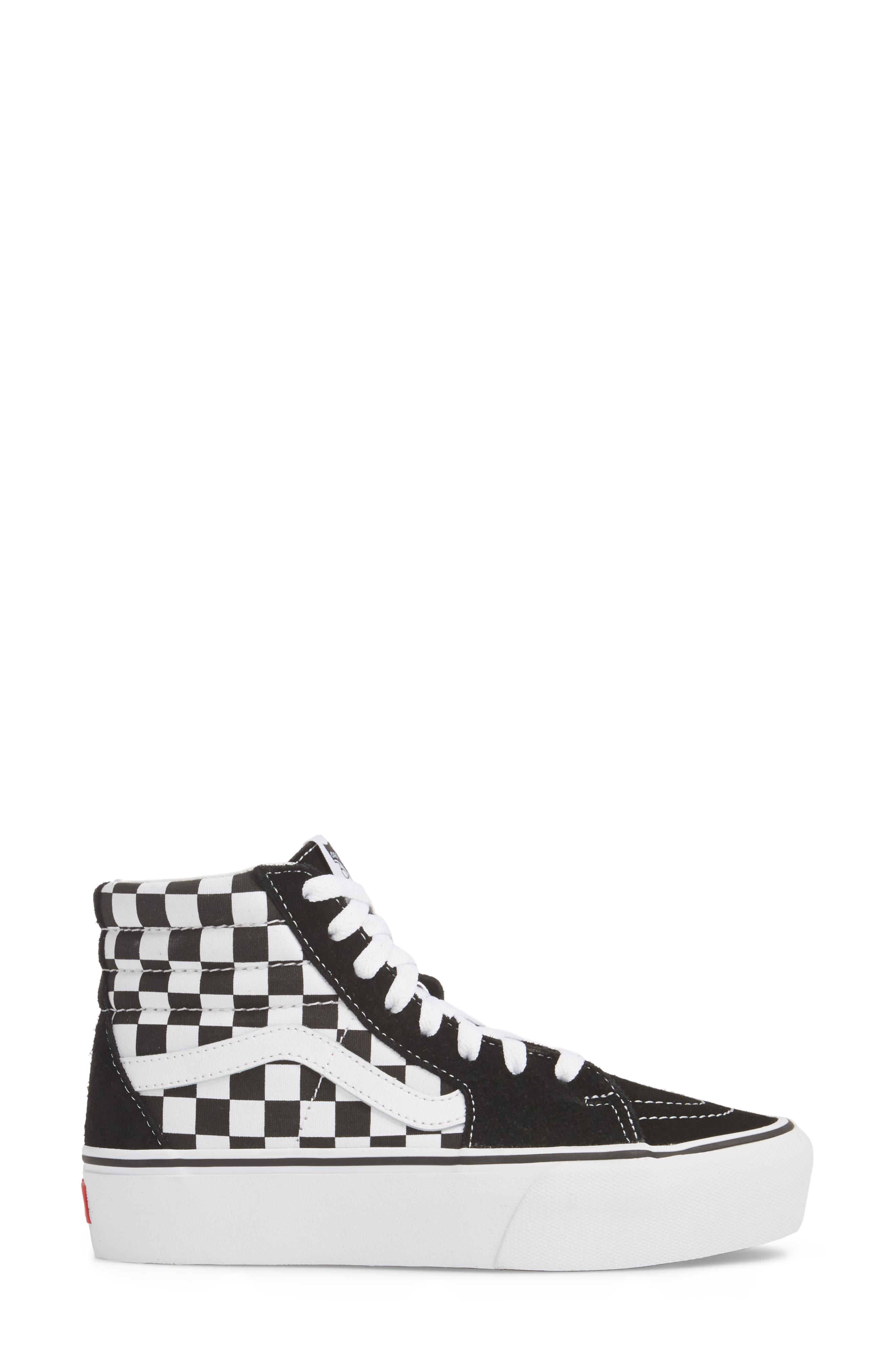 UA Sk8-Hi Platform Checkerboard Sneaker,                             Alternate thumbnail 3, color,                             CHECKER BOARD/ TRUE WHITE