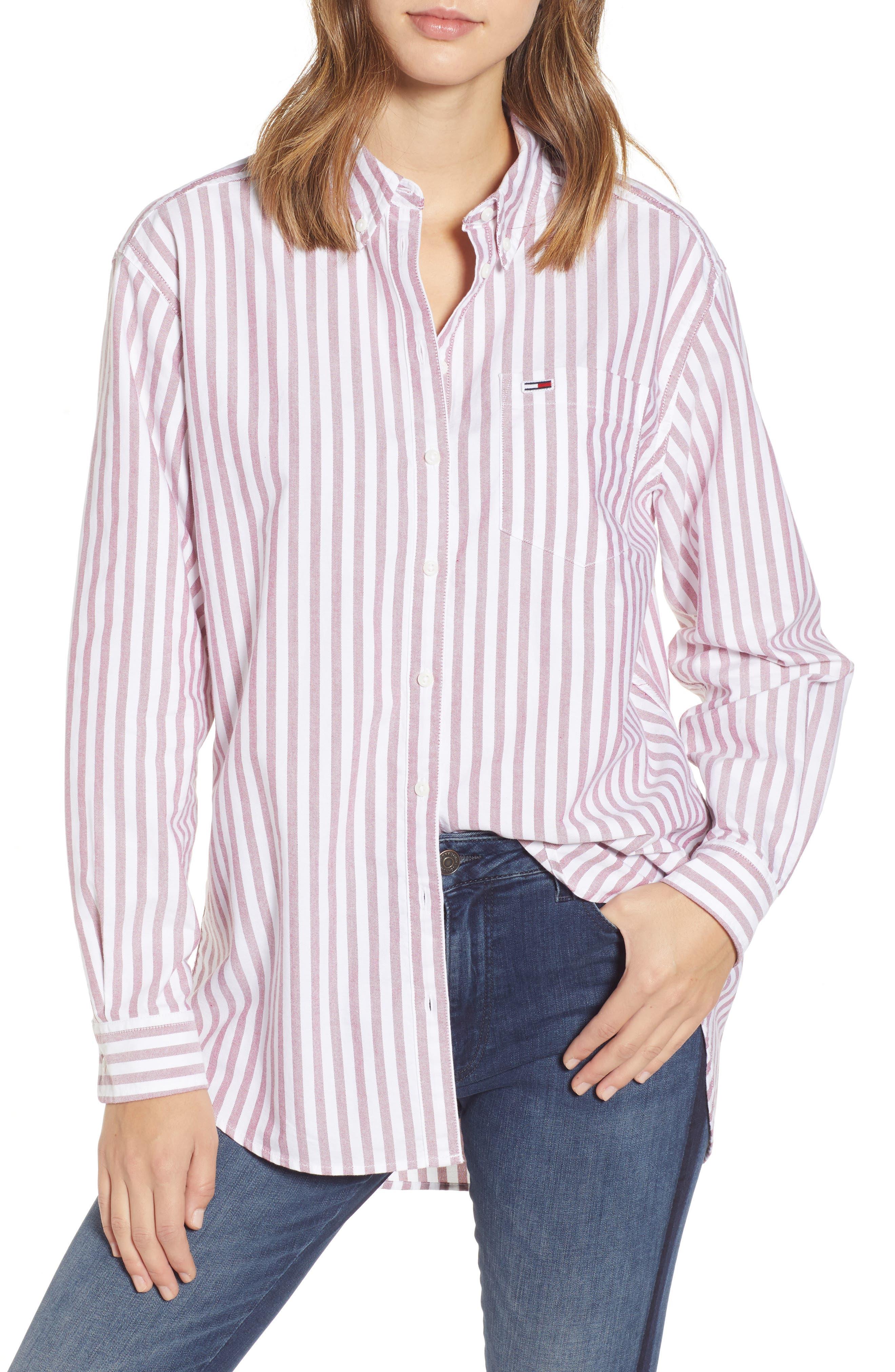 TJW Classics Stripe Shirt,                         Main,                         color, RUMBA RED / BRIGHT WHITE