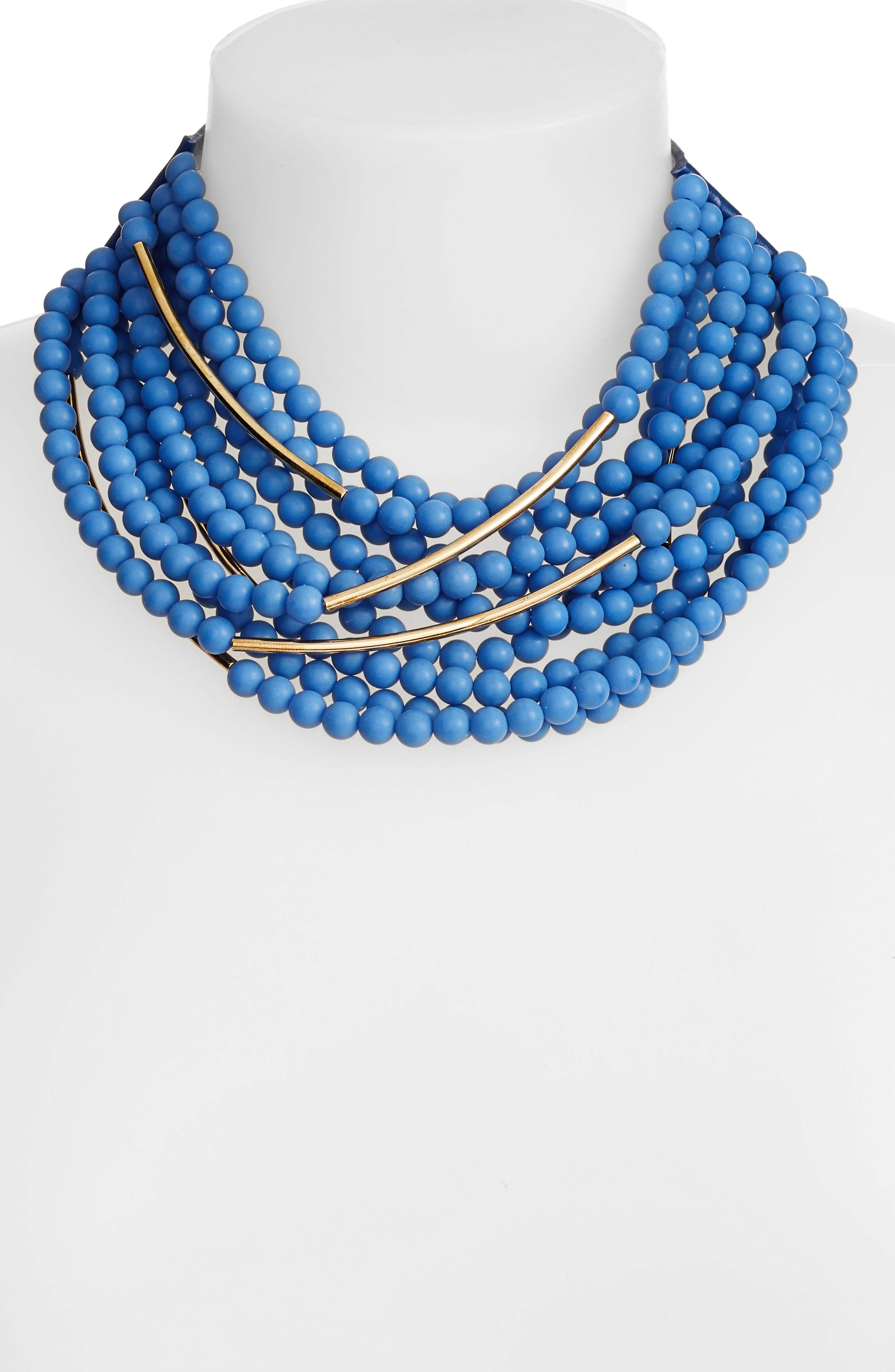 Mini Bella Beaded Collar Necklace,                             Alternate thumbnail 2, color,                             ROYAL BLUE