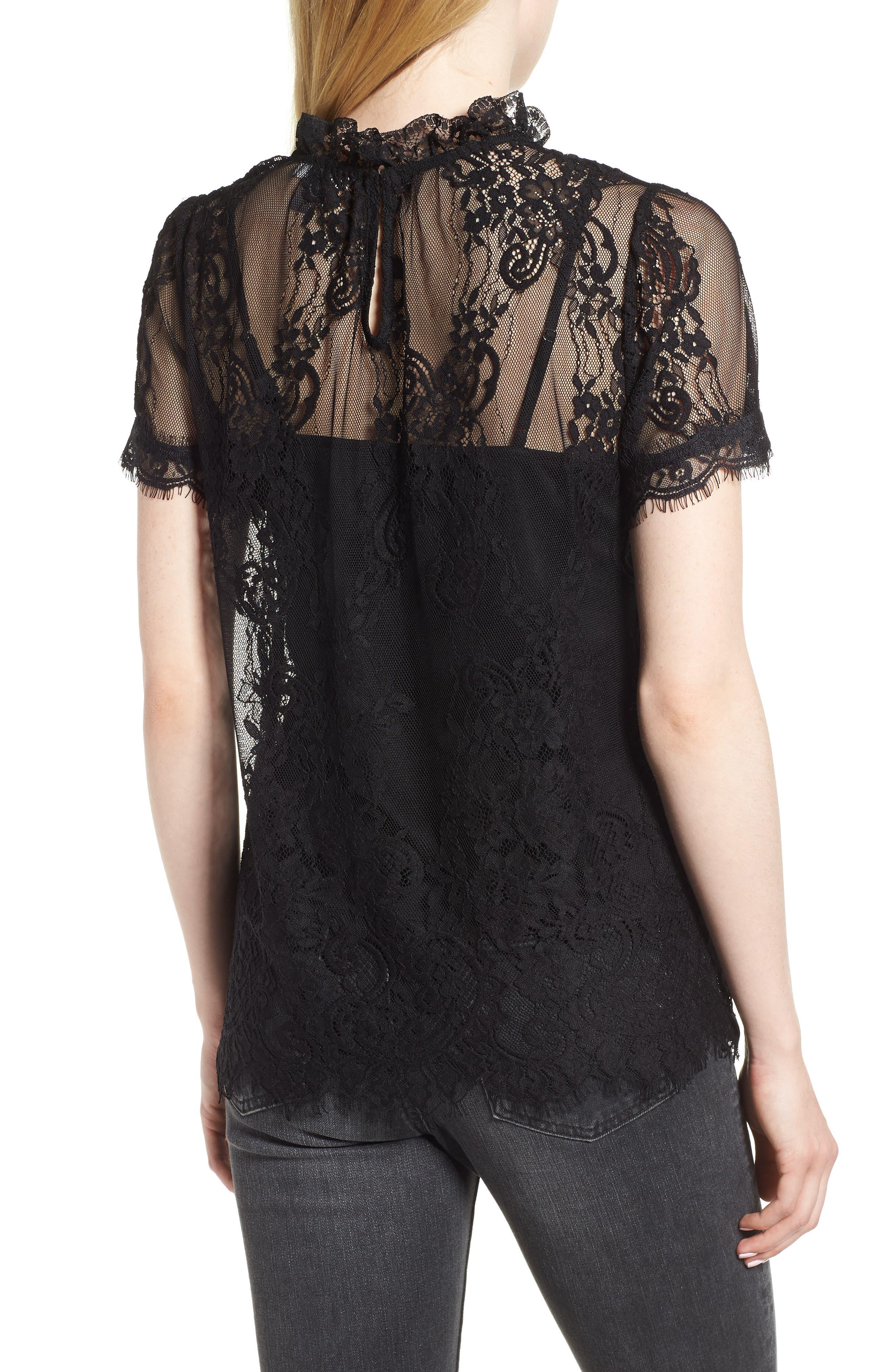 Lace Ruffle Collar Blouse,                             Alternate thumbnail 2, color,                             BLACK