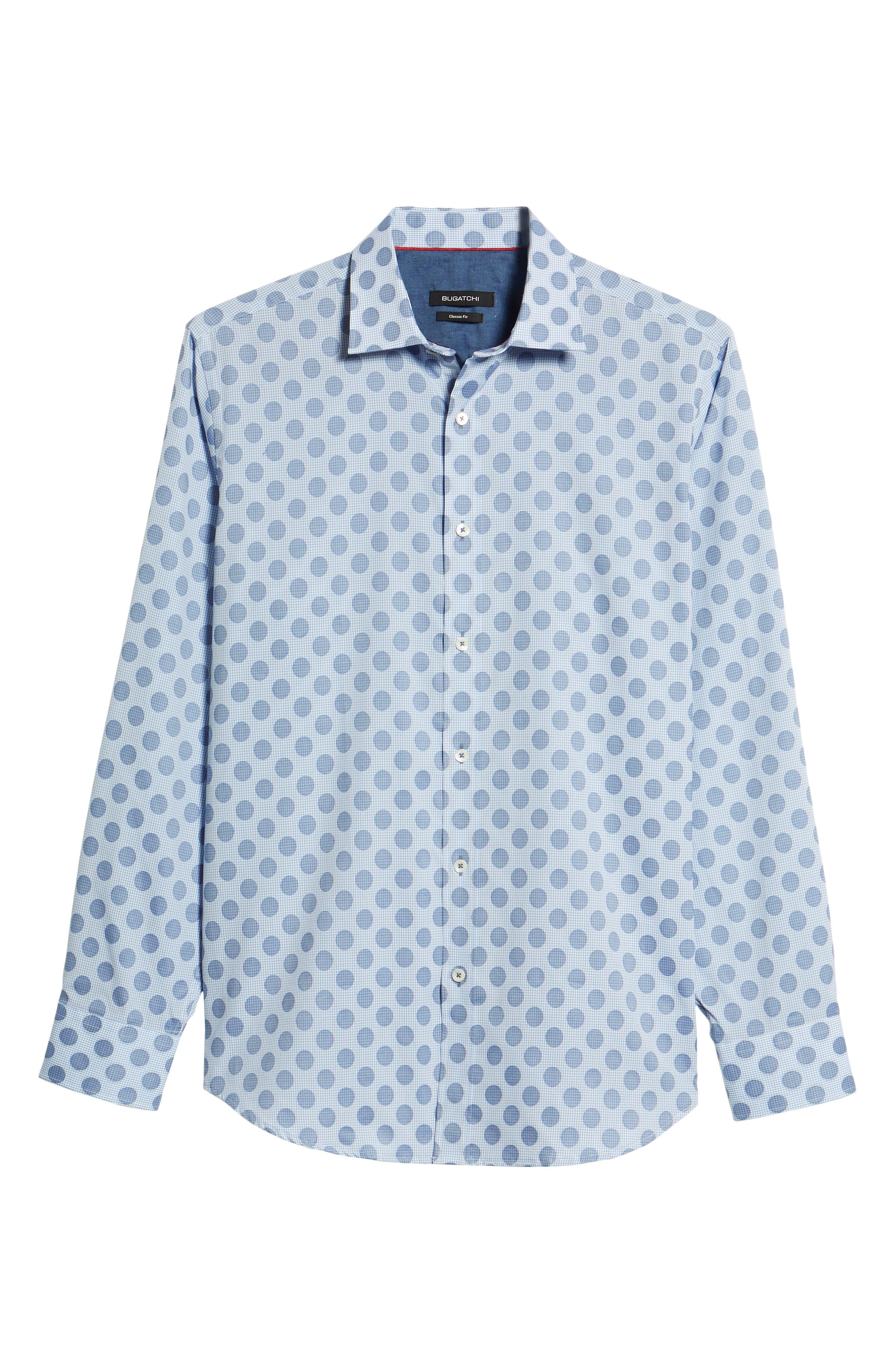 Classic Fit Dot Check Sport Shirt,                             Alternate thumbnail 6, color,                             AIR BLUE