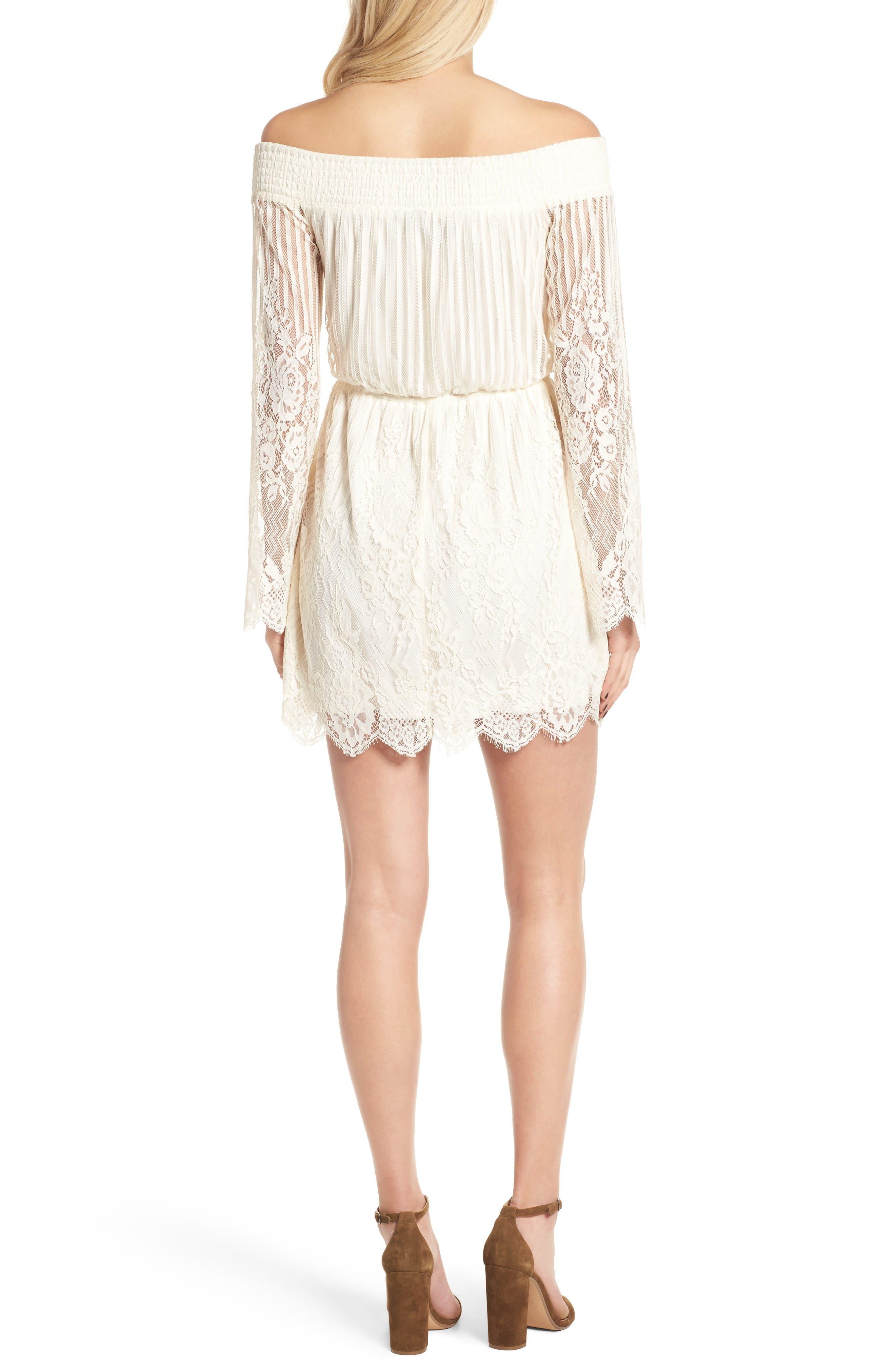 Stripe Lace Off the Shoulder Dress,                             Alternate thumbnail 2, color,