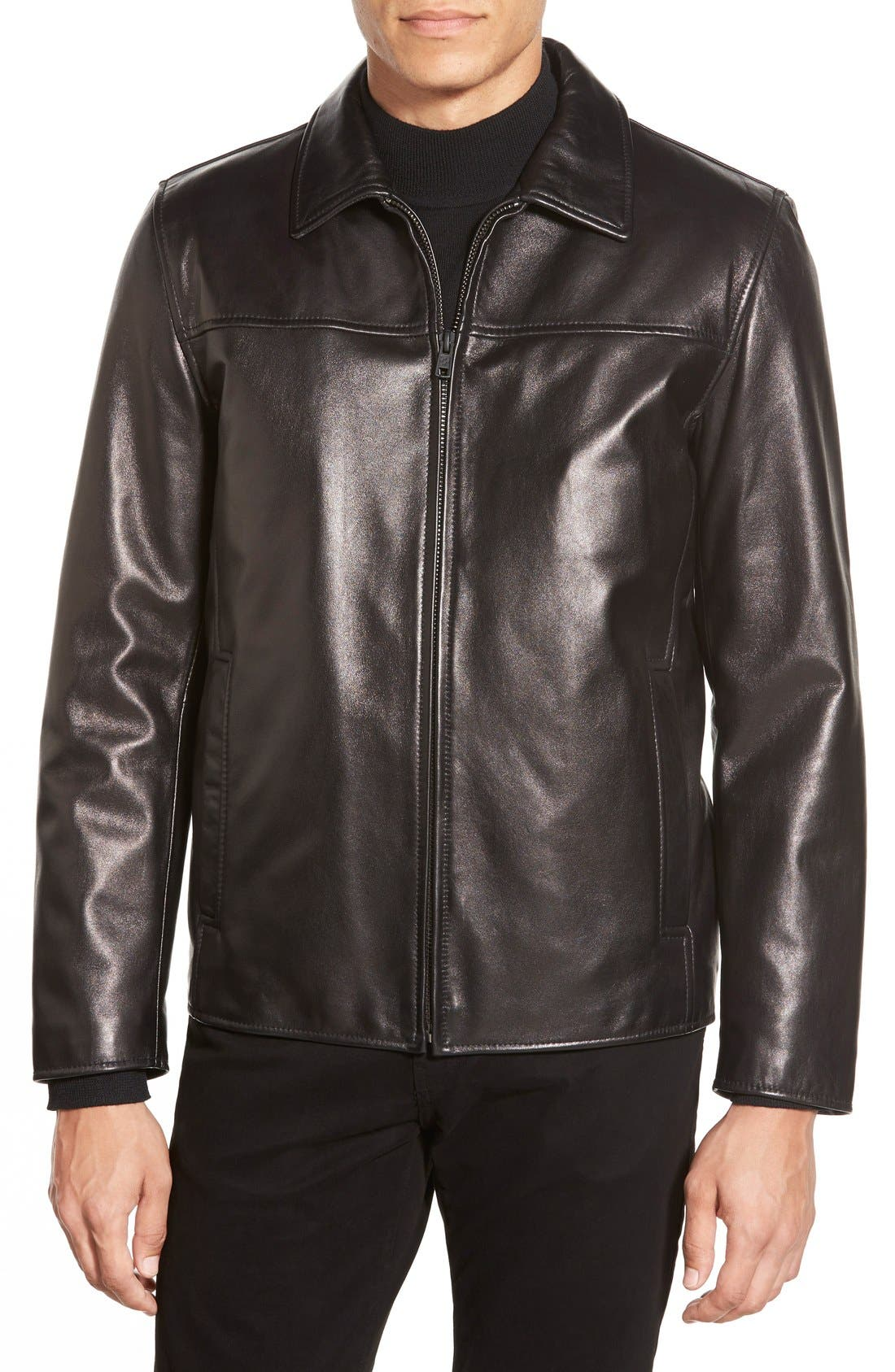 Leather Jacket with Removable Liner,                             Main thumbnail 1, color,                             001
