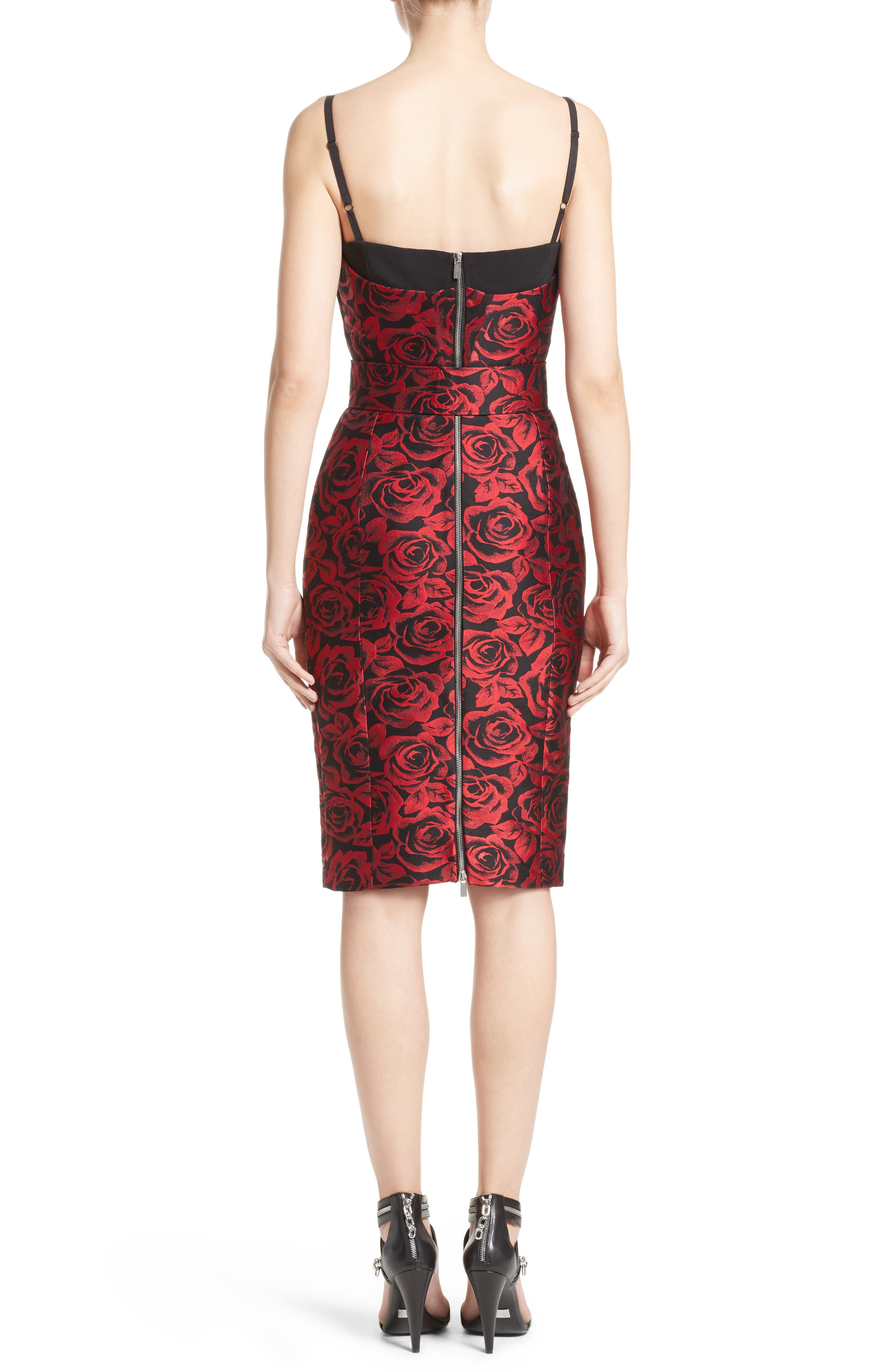 Rose Jacquard Bustier Sheath Dress,                             Alternate thumbnail 2, color,                             611