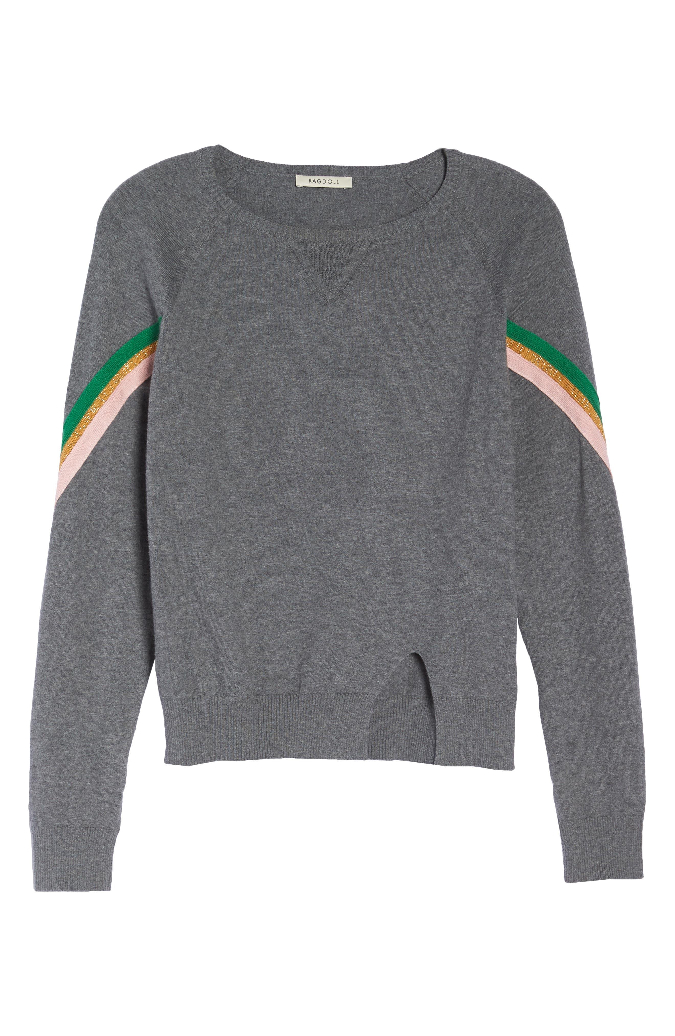Rainbow Stripe Sweatshirt,                             Alternate thumbnail 6, color,