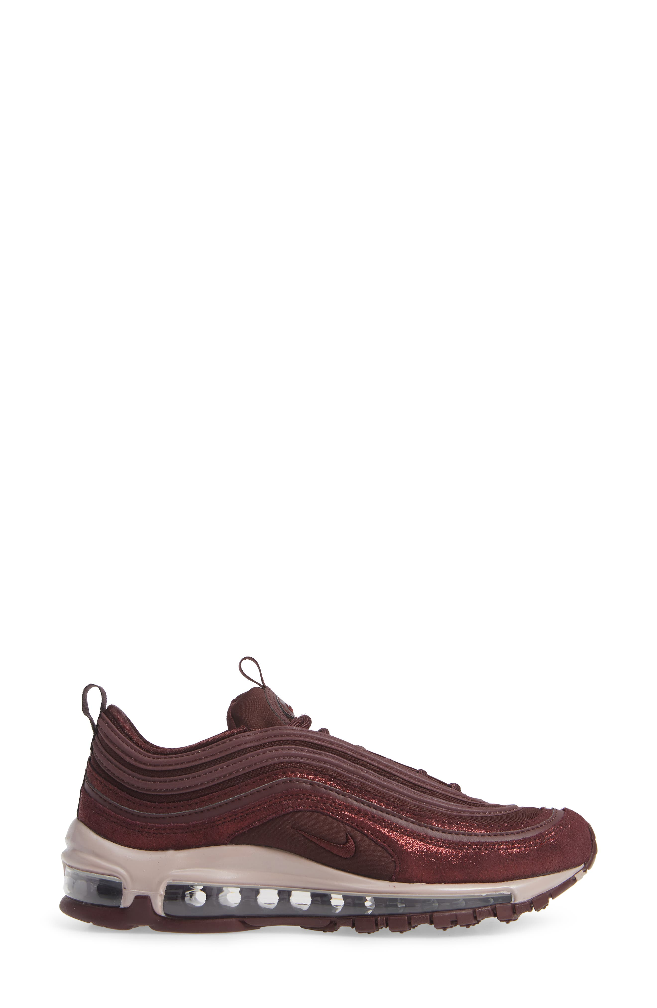 Air Max 97 SE Sneaker,                             Alternate thumbnail 3, color,                             BURGUNDY/ METALLIC MAHOGANY