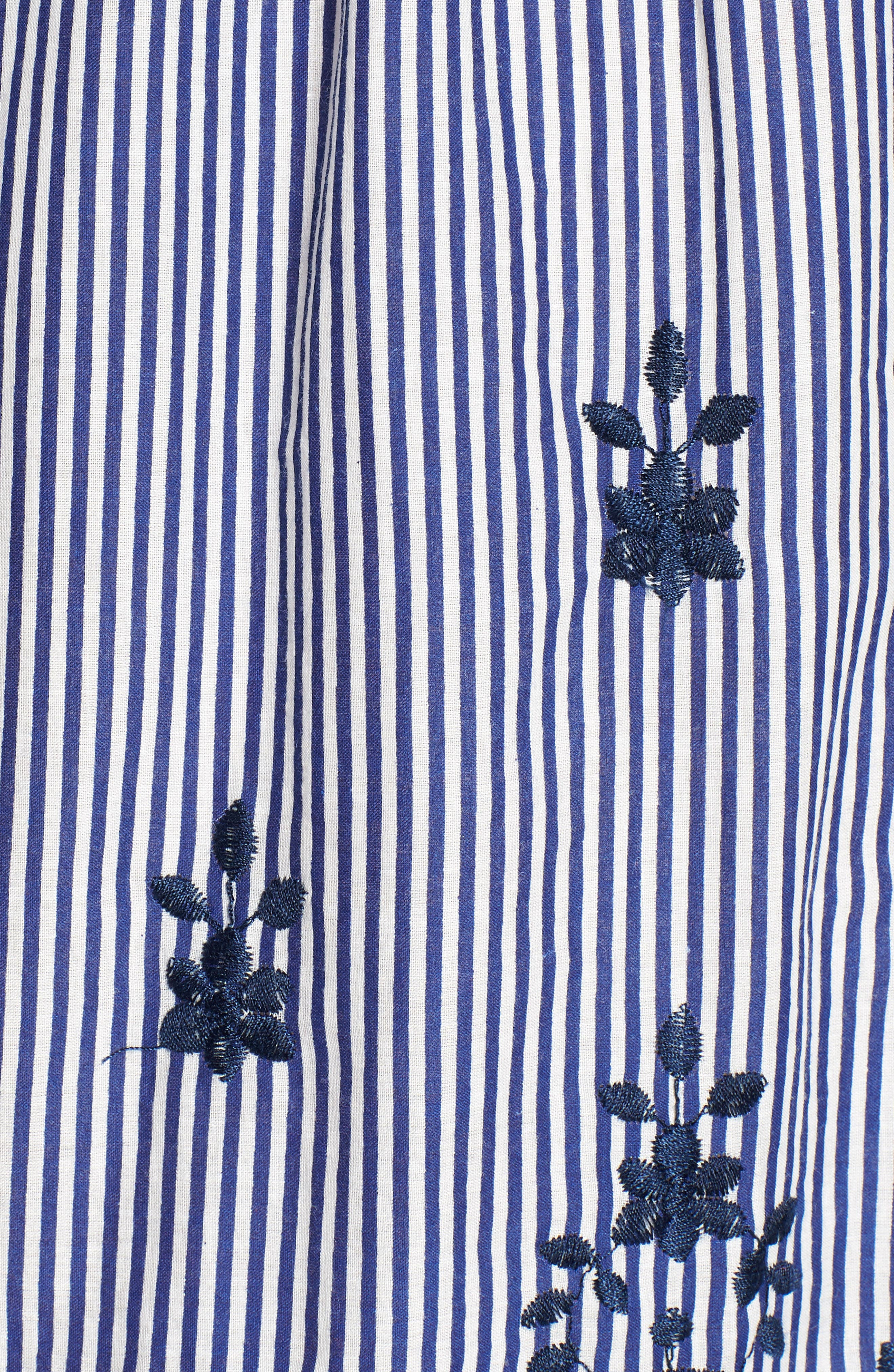 Bishop + Young Stripe Embroidered Off the Shoulder Dress,                             Alternate thumbnail 6, color,