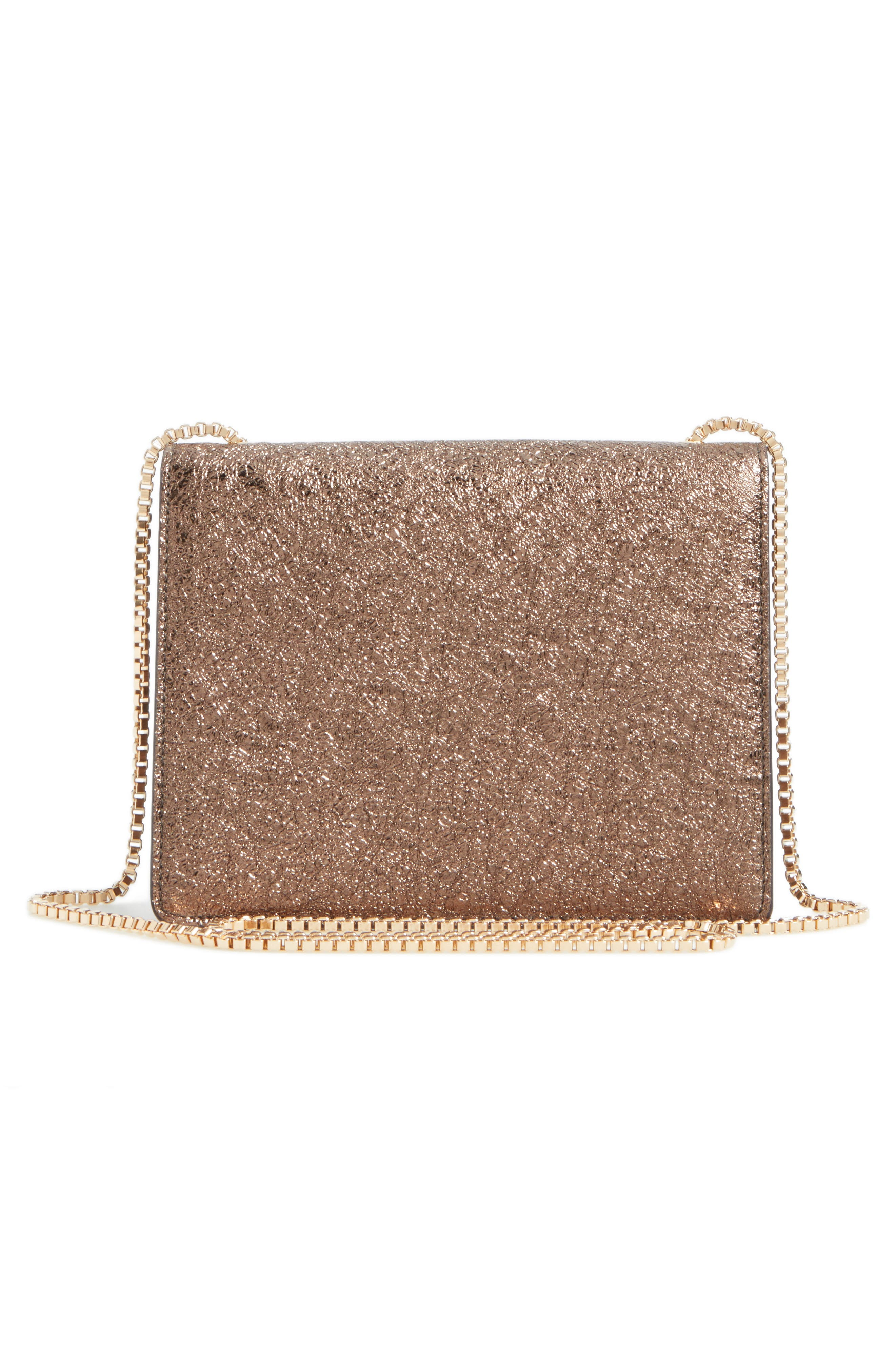 Small Metallic Leather Chain Shoulder Bag,                             Alternate thumbnail 3, color,