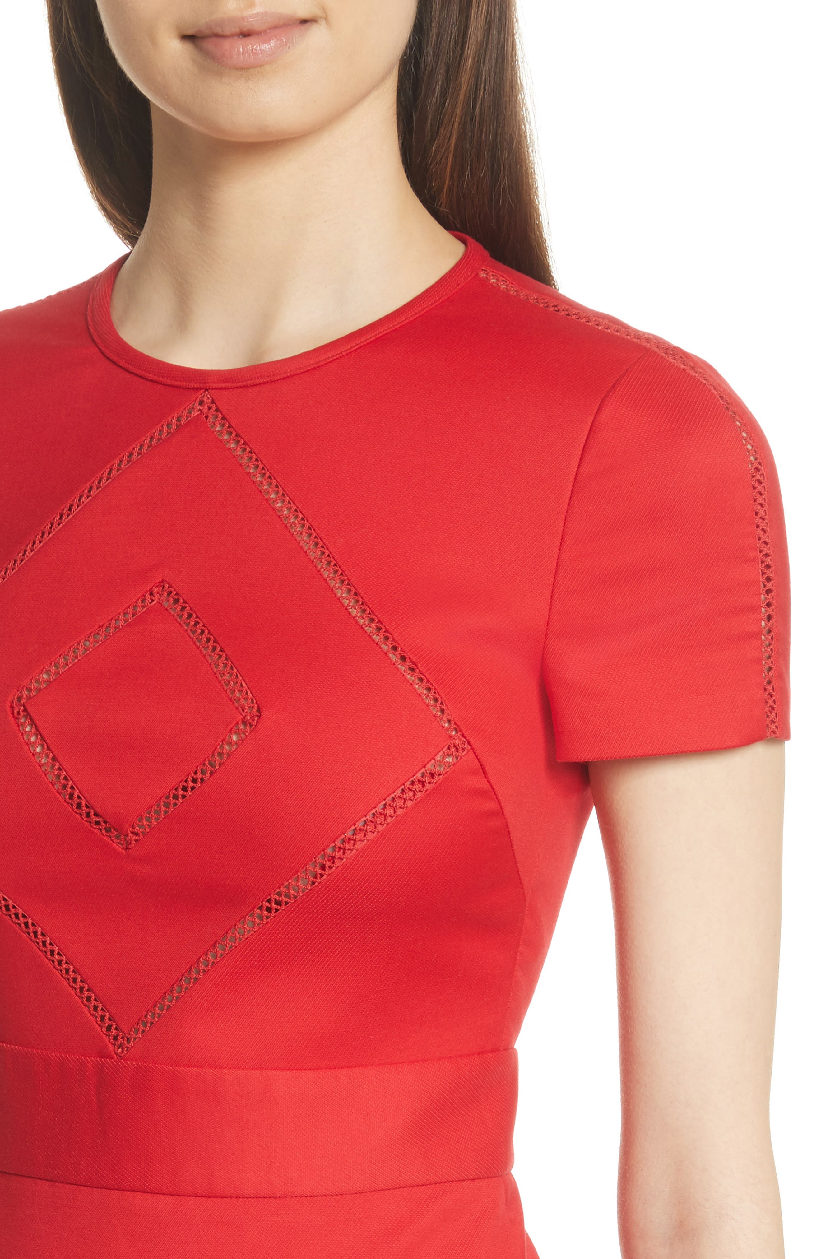 Open Stripe Fit & Flare Dress,                             Alternate thumbnail 4, color,                             610