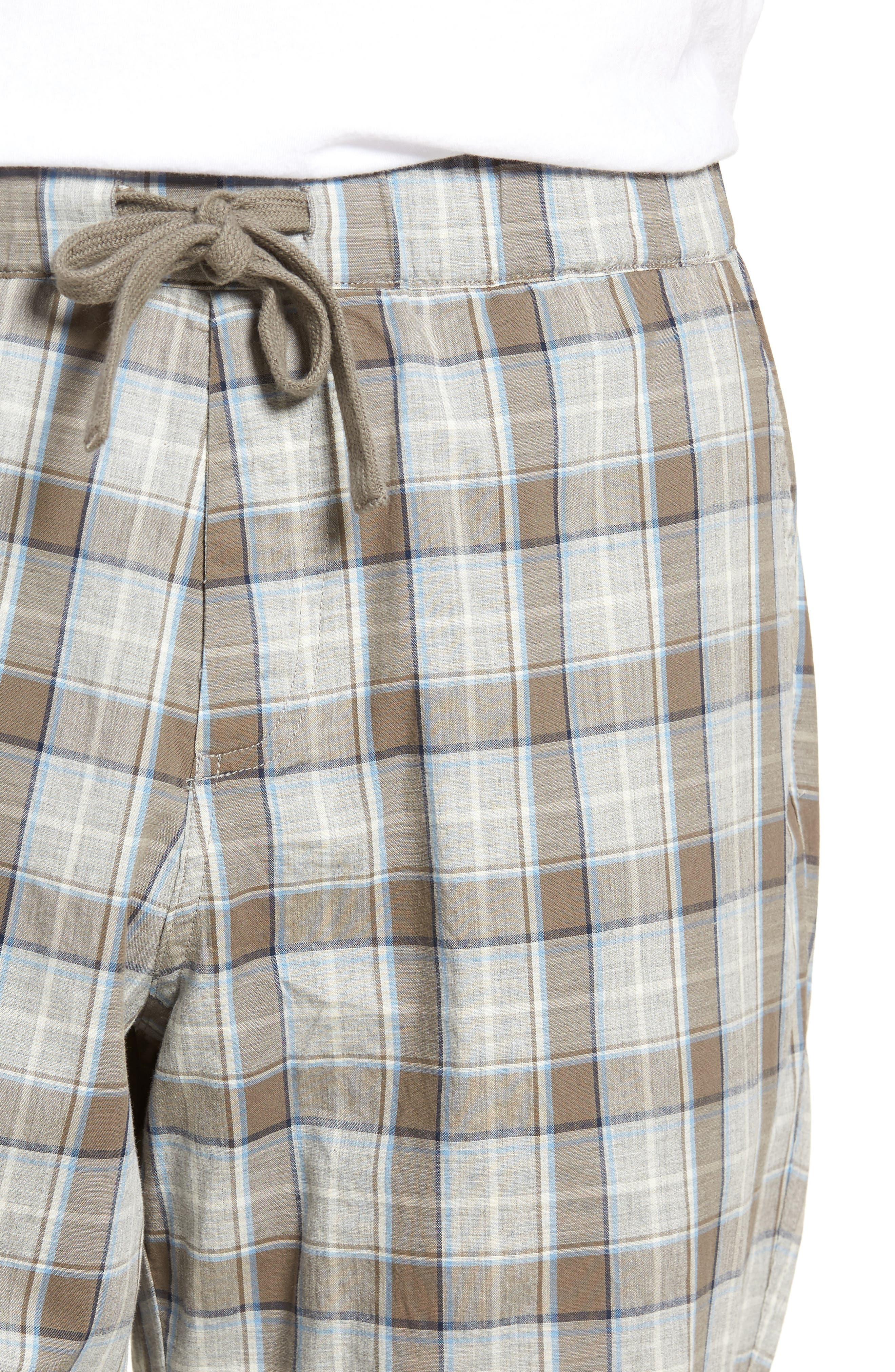 Flynn Plaid Cotton Lounge Pants,                             Alternate thumbnail 7, color,