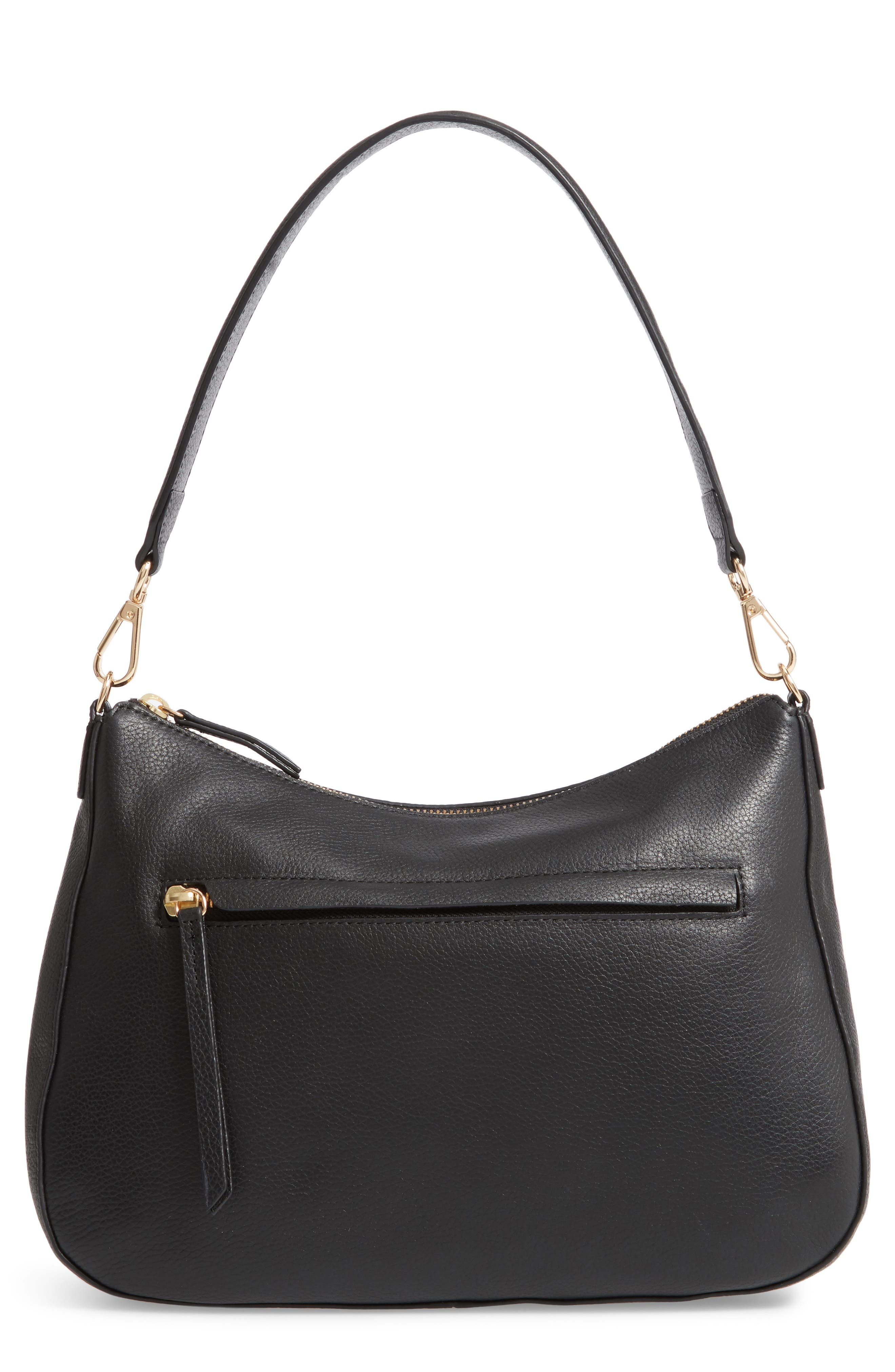 Finn Convertible Leather Hobo,                         Main,                         color, BLACK