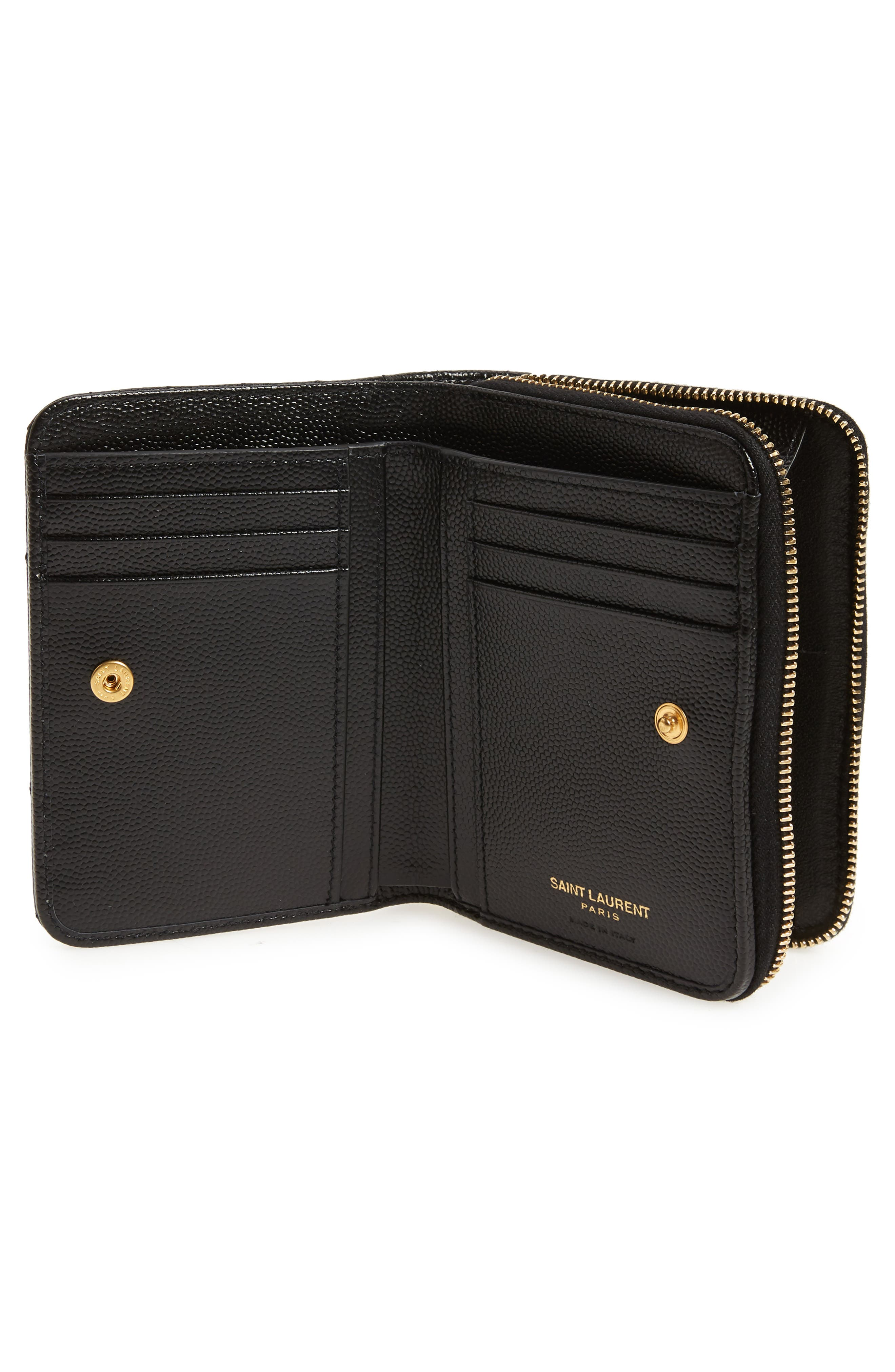 Monogramme Compact Quilted Zip Around Wallet,                             Alternate thumbnail 2, color,                             NOIR