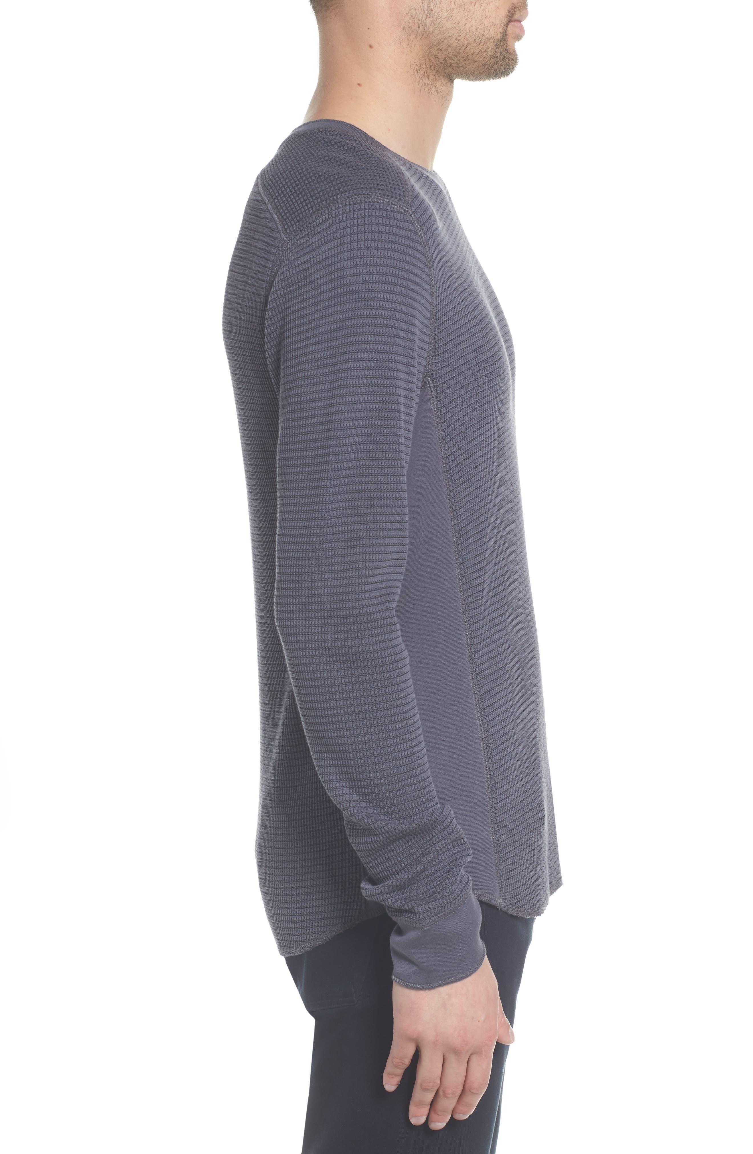 Regular Fit Waffle Knit Cotton Blend Crewneck T-Shirt,                             Alternate thumbnail 3, color,                             TITANIUM