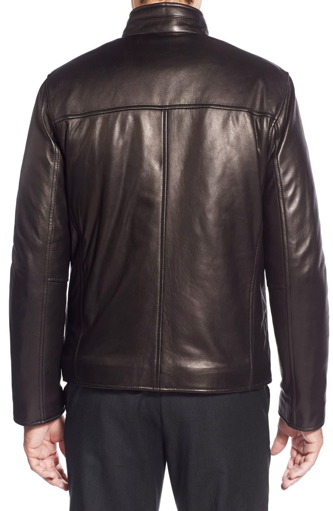 Lambskin Leather Moto Jacket,                             Alternate thumbnail 3, color,                             001