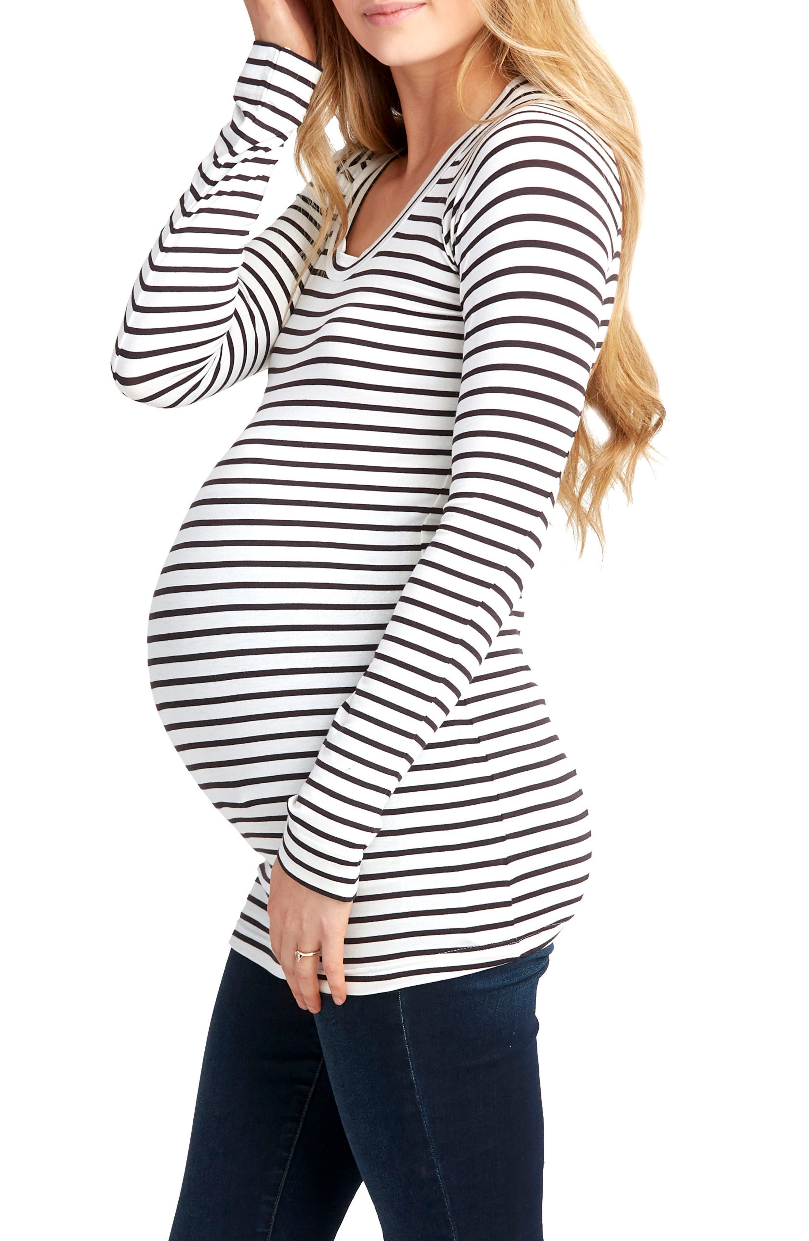 Phoebe Maternity Top,                             Alternate thumbnail 3, color,                             BLACK AND WHITE STRIPE