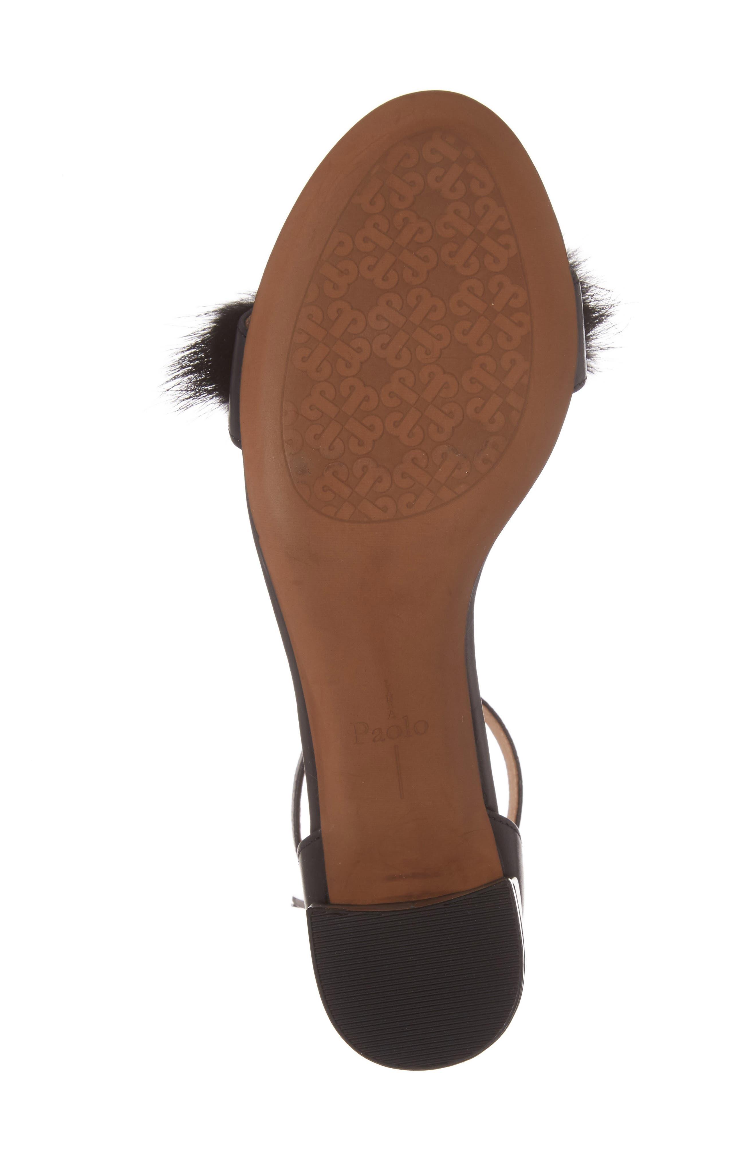 Hepburn Genuine Mink Fur Sandal,                             Alternate thumbnail 6, color,                             008