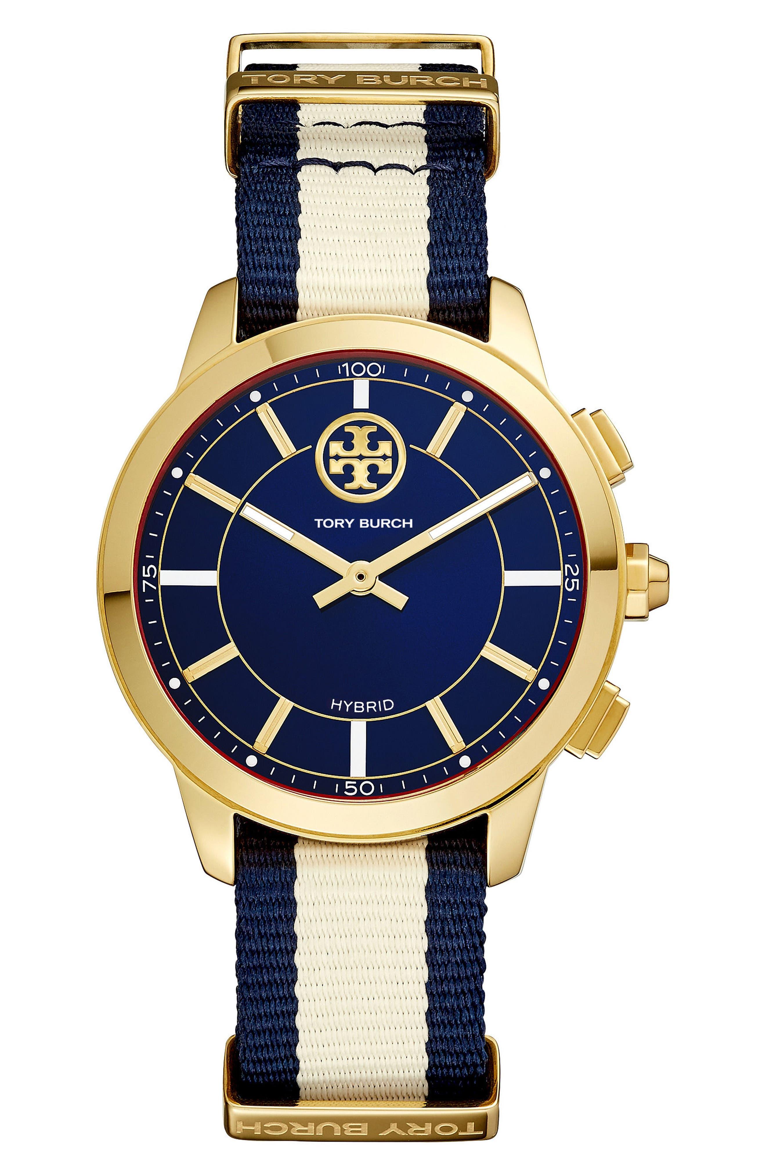 Collins Hybrid Nylon Strap Watch, 38mm,                             Main thumbnail 1, color,                             CREAM/ NAVY/ GOLD