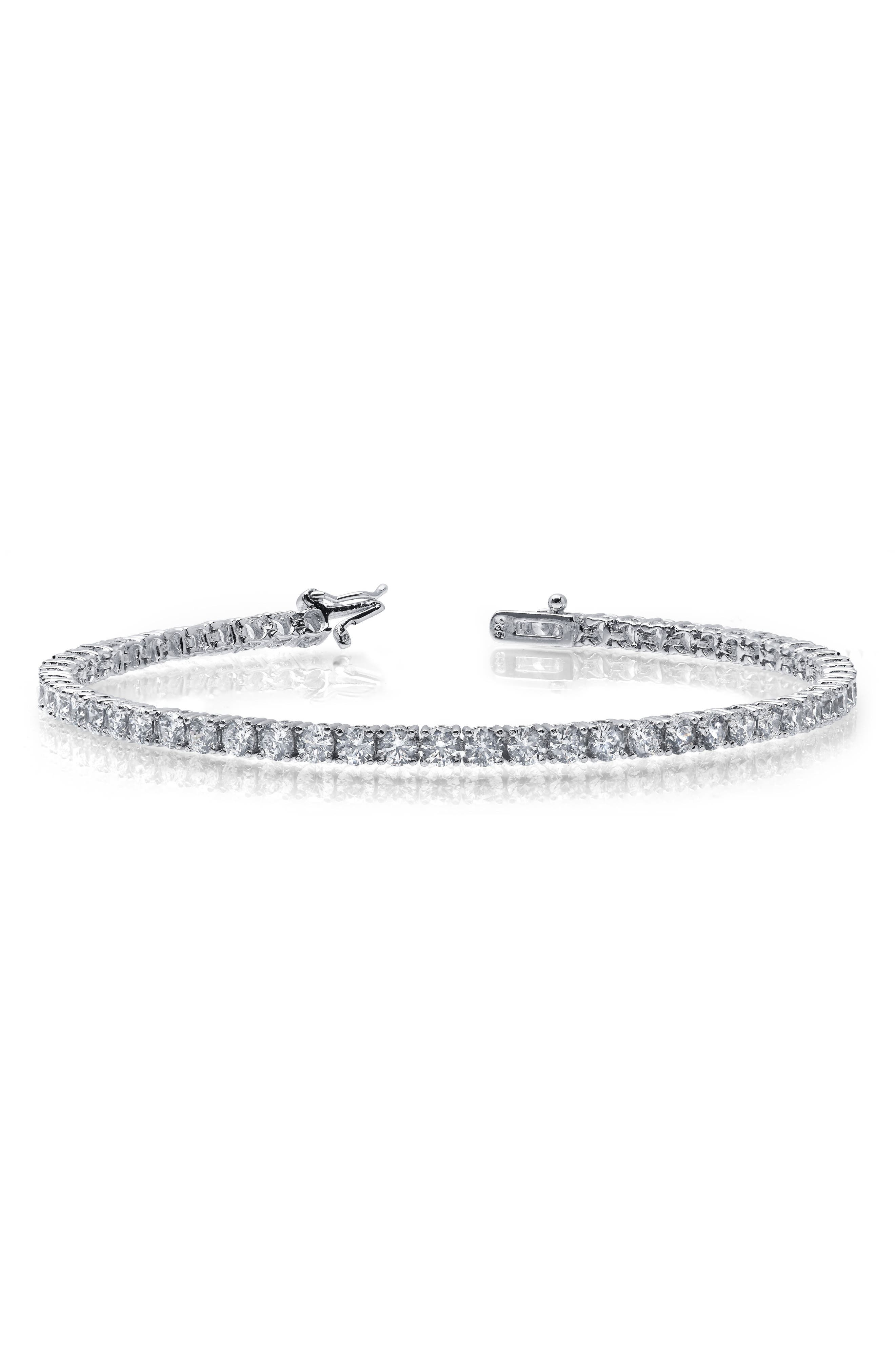 Simulated Diamond Bracelet,                         Main,                         color, SILVER/ CLEAR