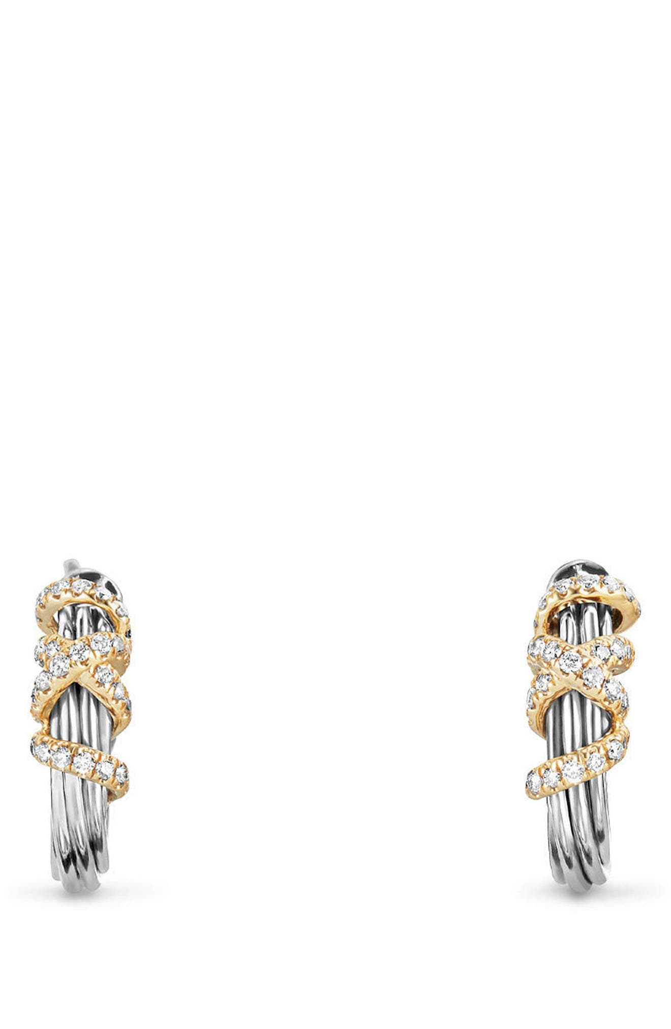Helena Small Hoop Earrings with Diamonds & 18K Gold,                             Main thumbnail 1, color,                             SILVER/ GOLD