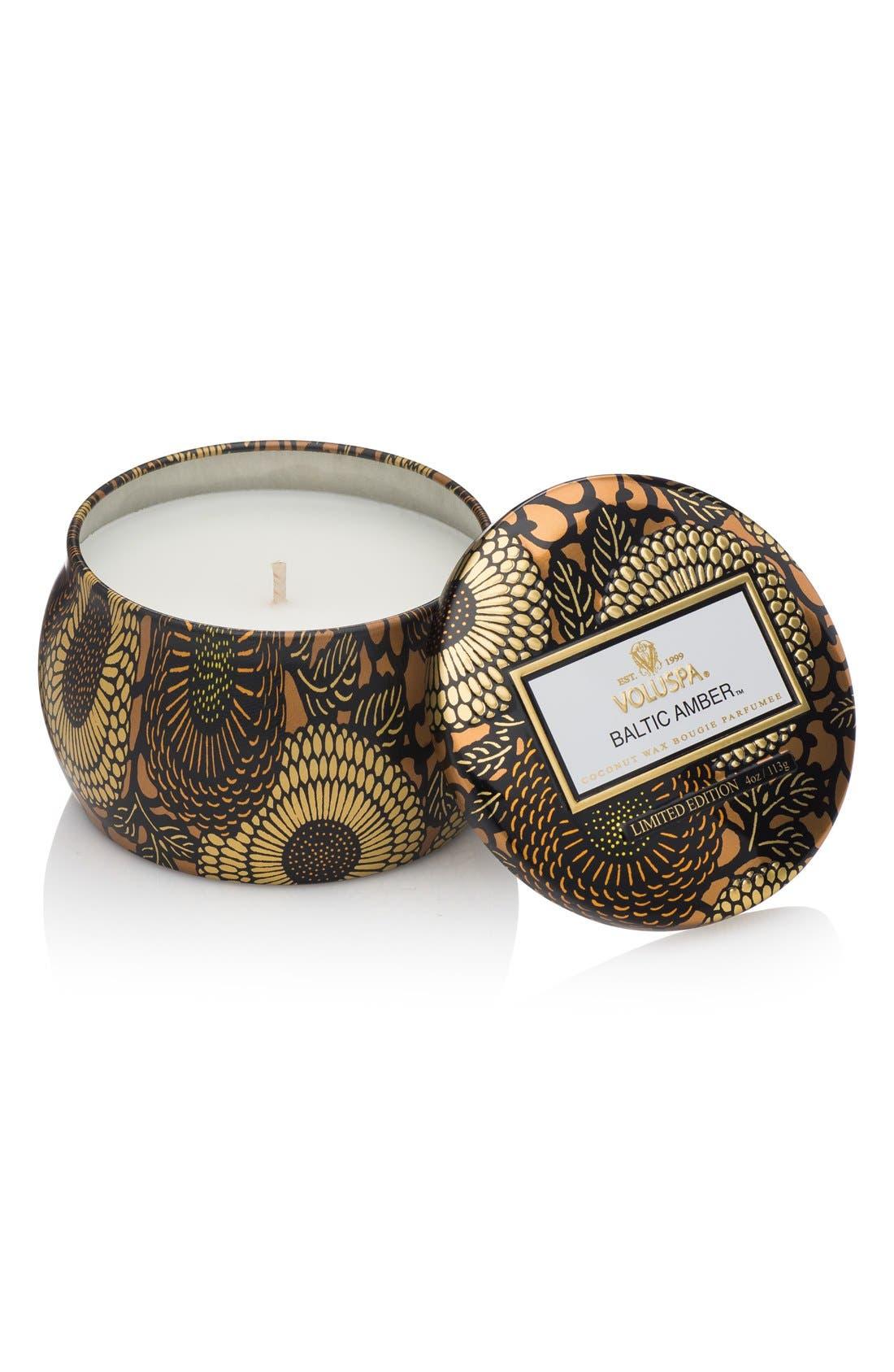 Japonica Baltic Amber Petite Decorative Tin Candle,                         Main,                         color, NO COLOR
