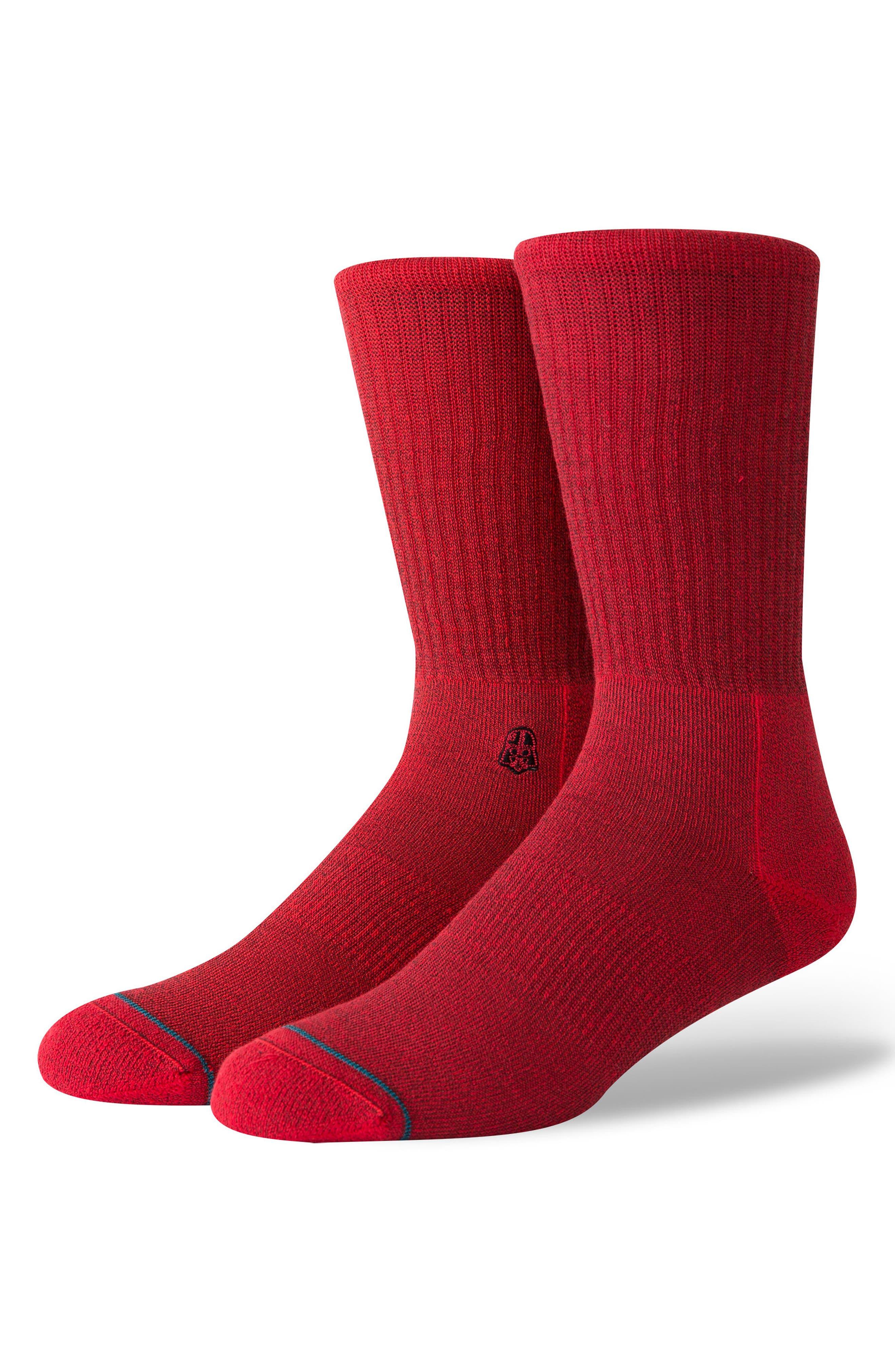 Star Wars Solid Vader Socks,                             Main thumbnail 1, color,                             RED