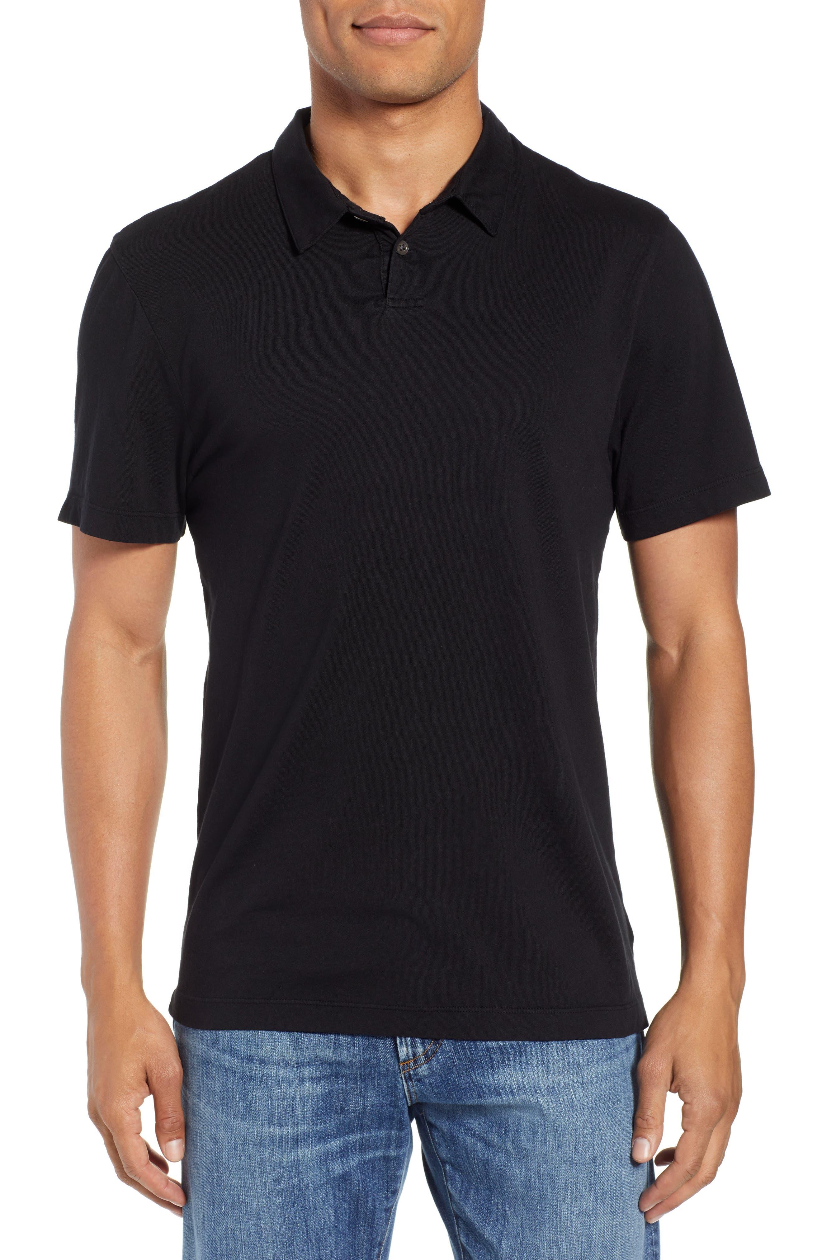 Regular Fit Jersey Polo,                             Main thumbnail 1, color,                             BLACK