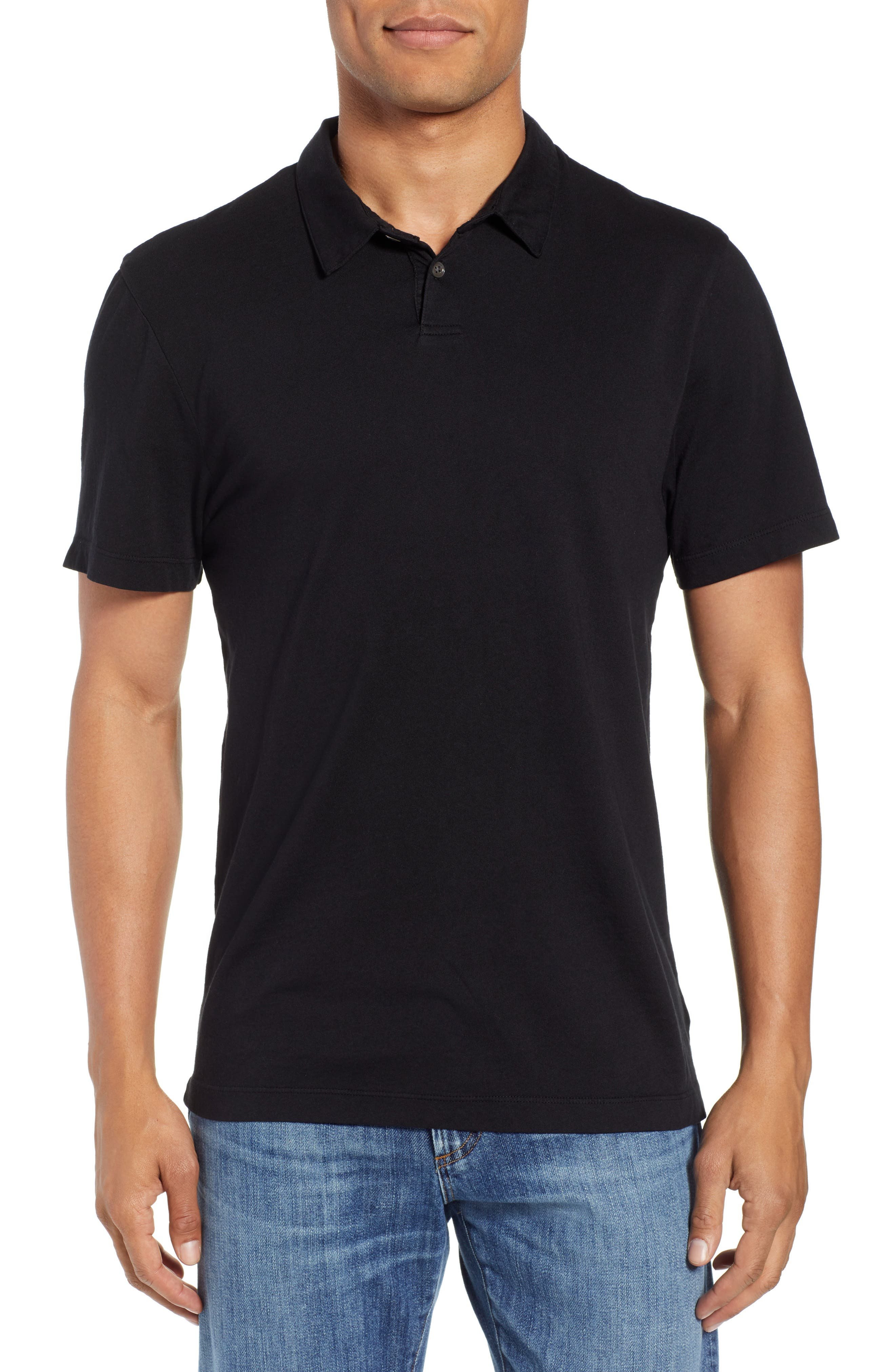 Regular Fit Jersey Polo,                         Main,                         color, BLACK
