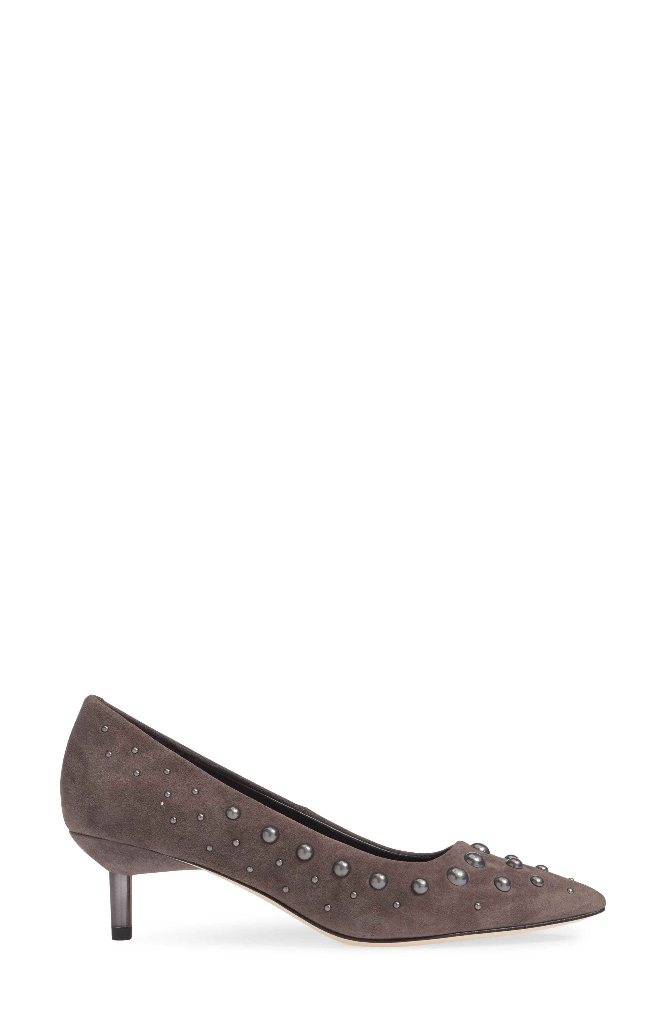 Bazie Studded Pump,                             Alternate thumbnail 3, color,                             GREY SUEDE