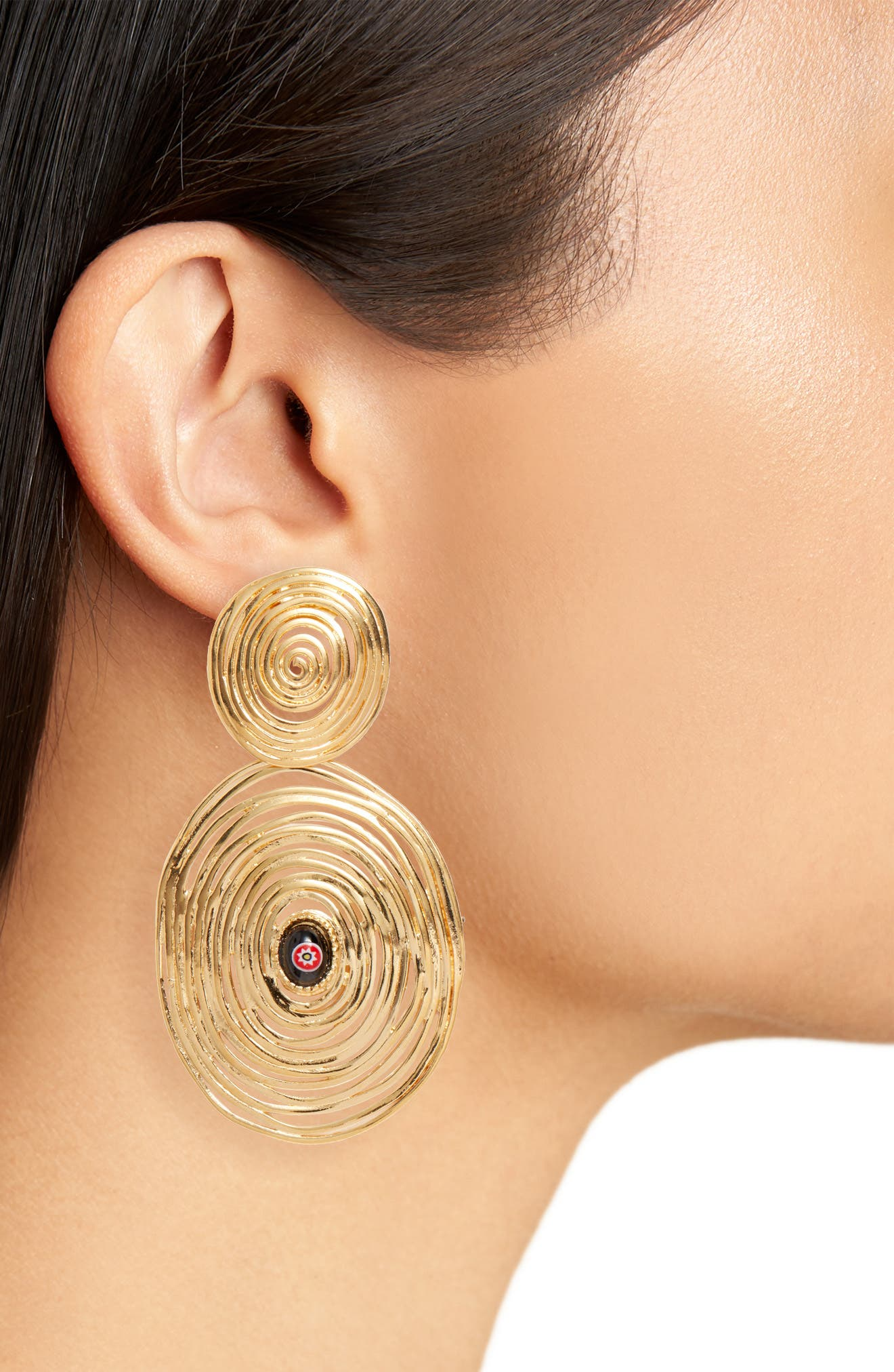 Wave Double Drop Earrings,                             Alternate thumbnail 2, color,                             YELLOW GOLD