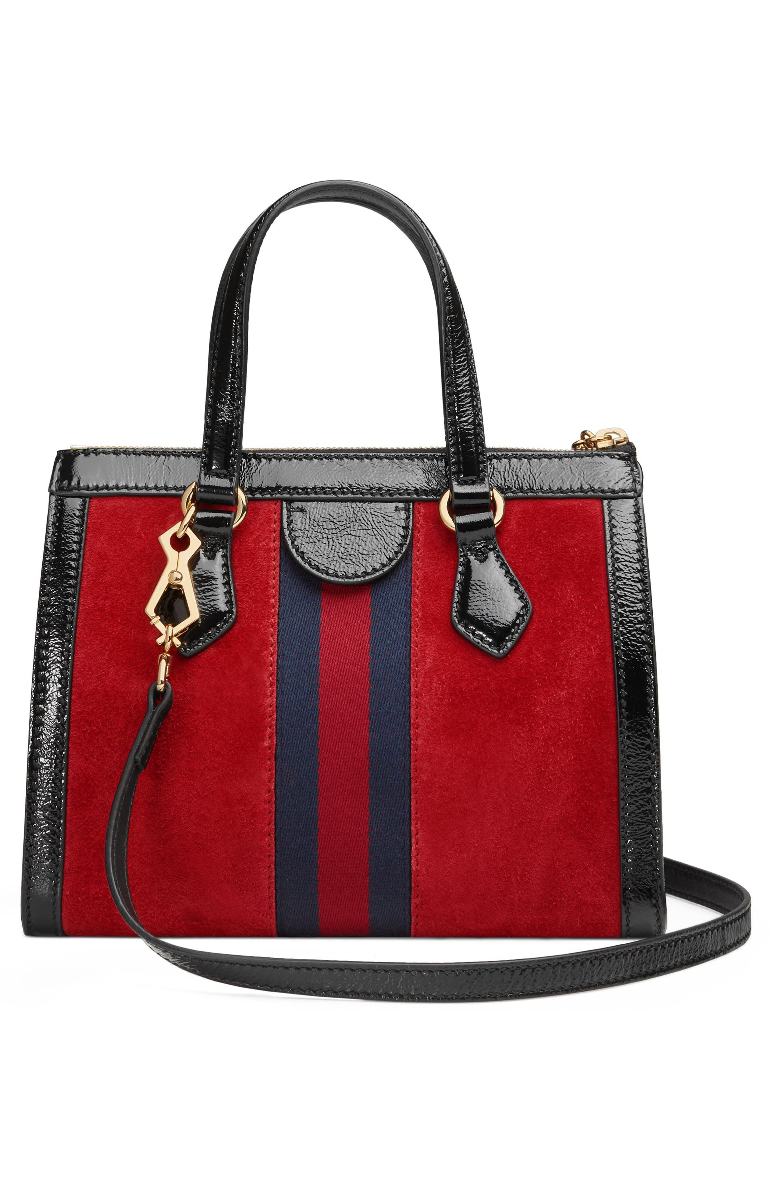 Small Ophidia House Web Suede Satchel,                             Alternate thumbnail 2, color,                             HIBISCUS RED/ NERO/ BLUE