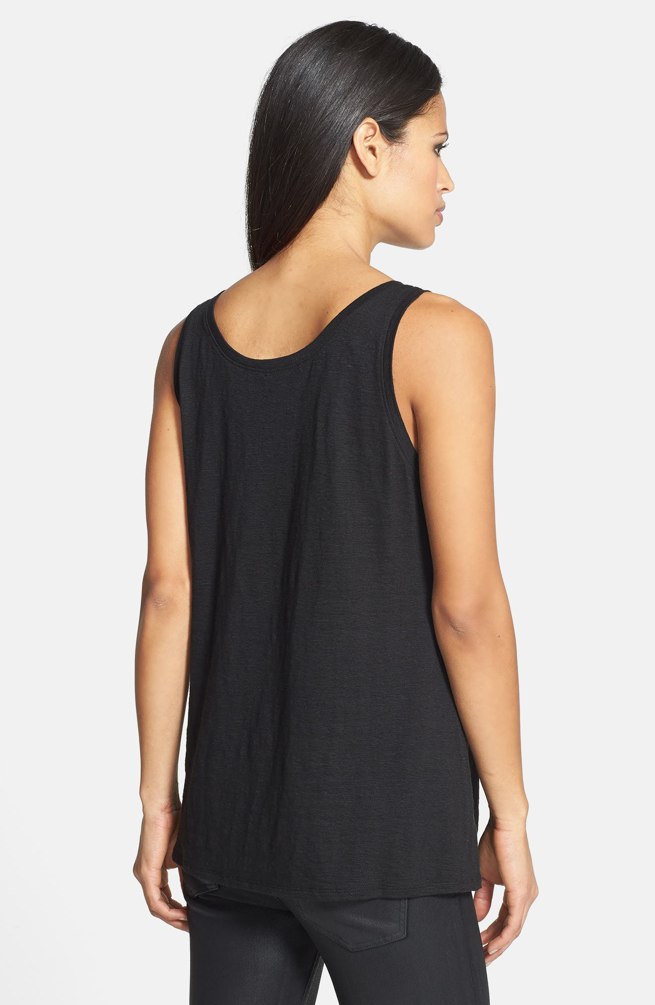 U-Neck Organic Linen Tank,                             Alternate thumbnail 2, color,                             001