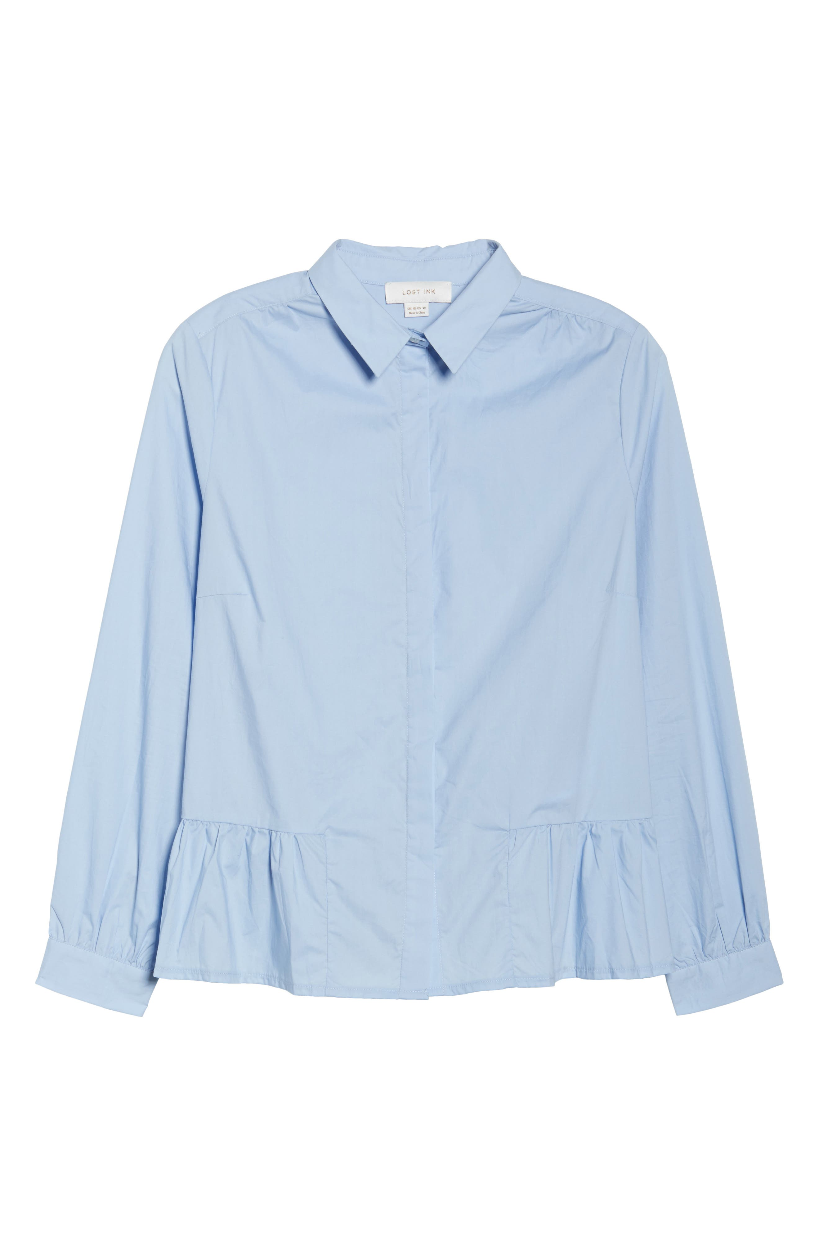 Peplum Hem Shirt,                             Alternate thumbnail 6, color,                             400