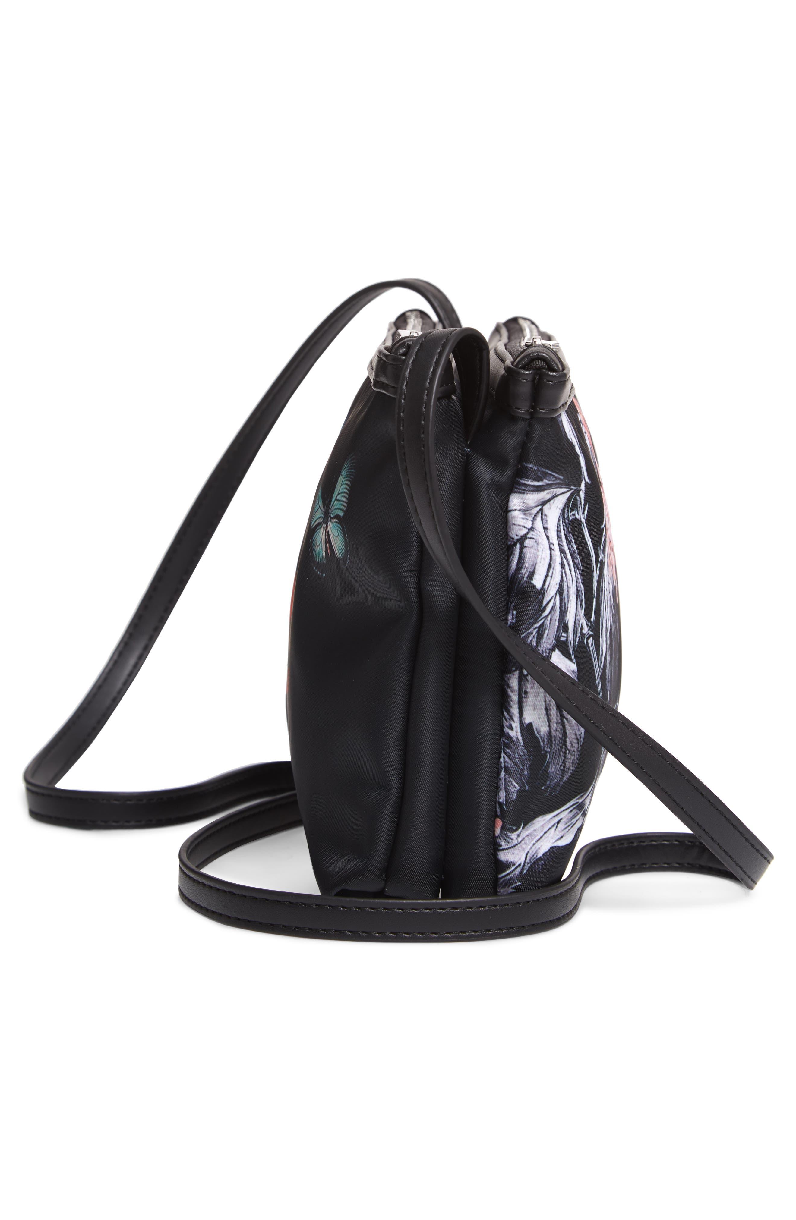 Myyaa Narrnia Nylon Crossbody Bag,                             Alternate thumbnail 5, color,                             BLACK