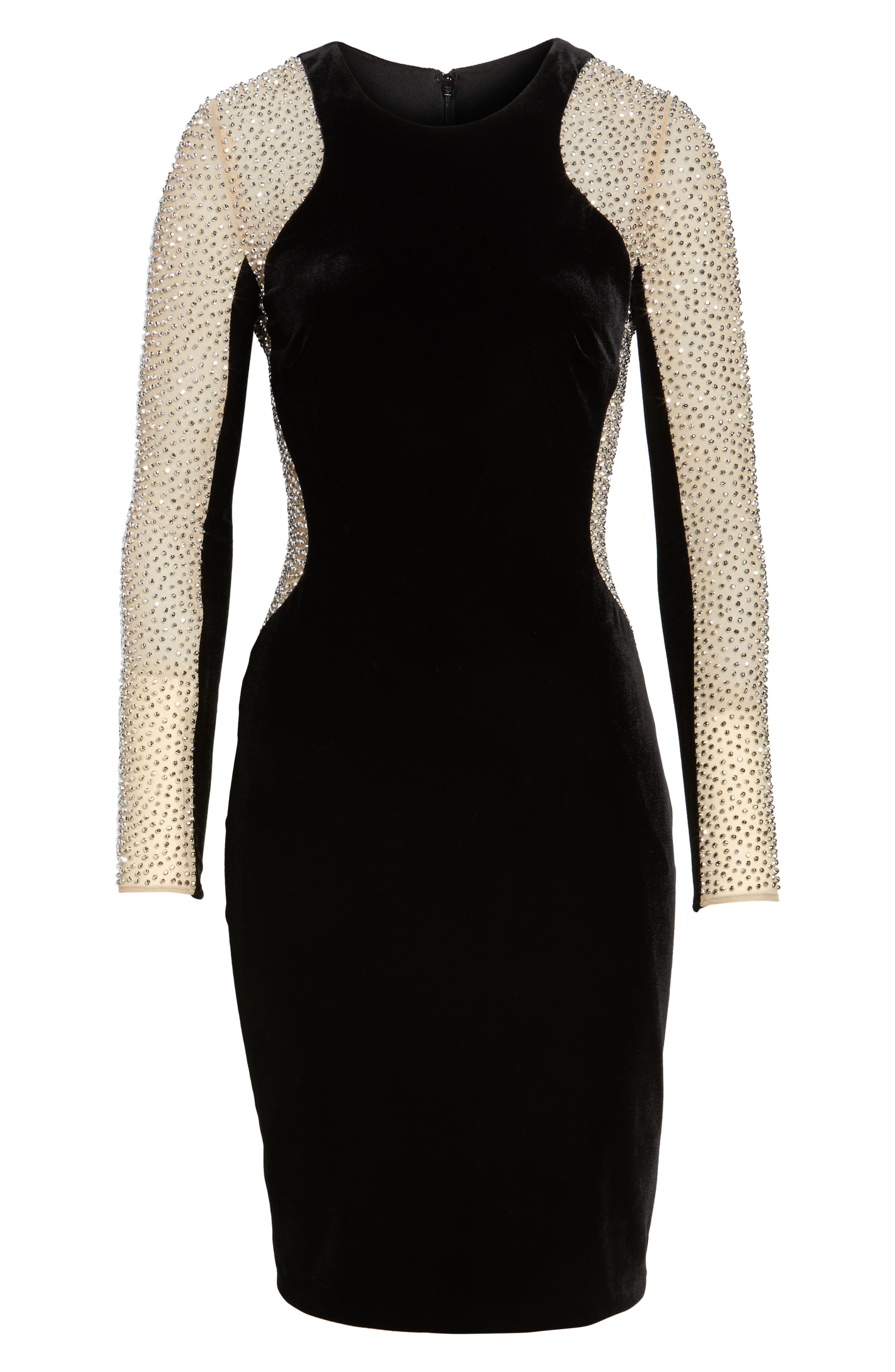 Caviar Bead Mesh Velvet Body-Con Dress,                             Alternate thumbnail 6, color,                             BLACK/ NUDE/ SILVER