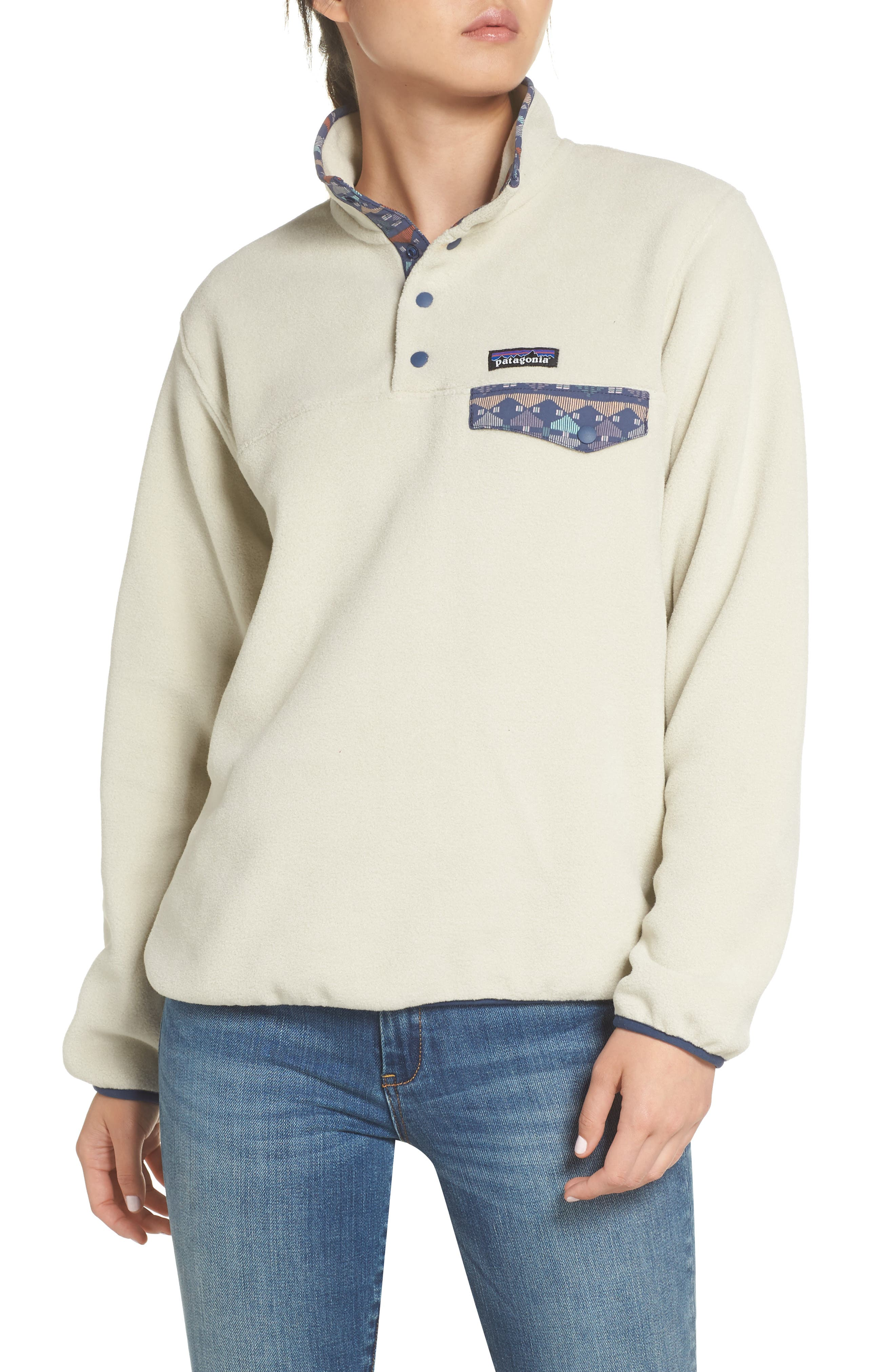 Synchilla Snap-T<sup>®</sup> Fleece Pullover,                             Main thumbnail 1, color,                             PELICAN W/ STONE BLUE