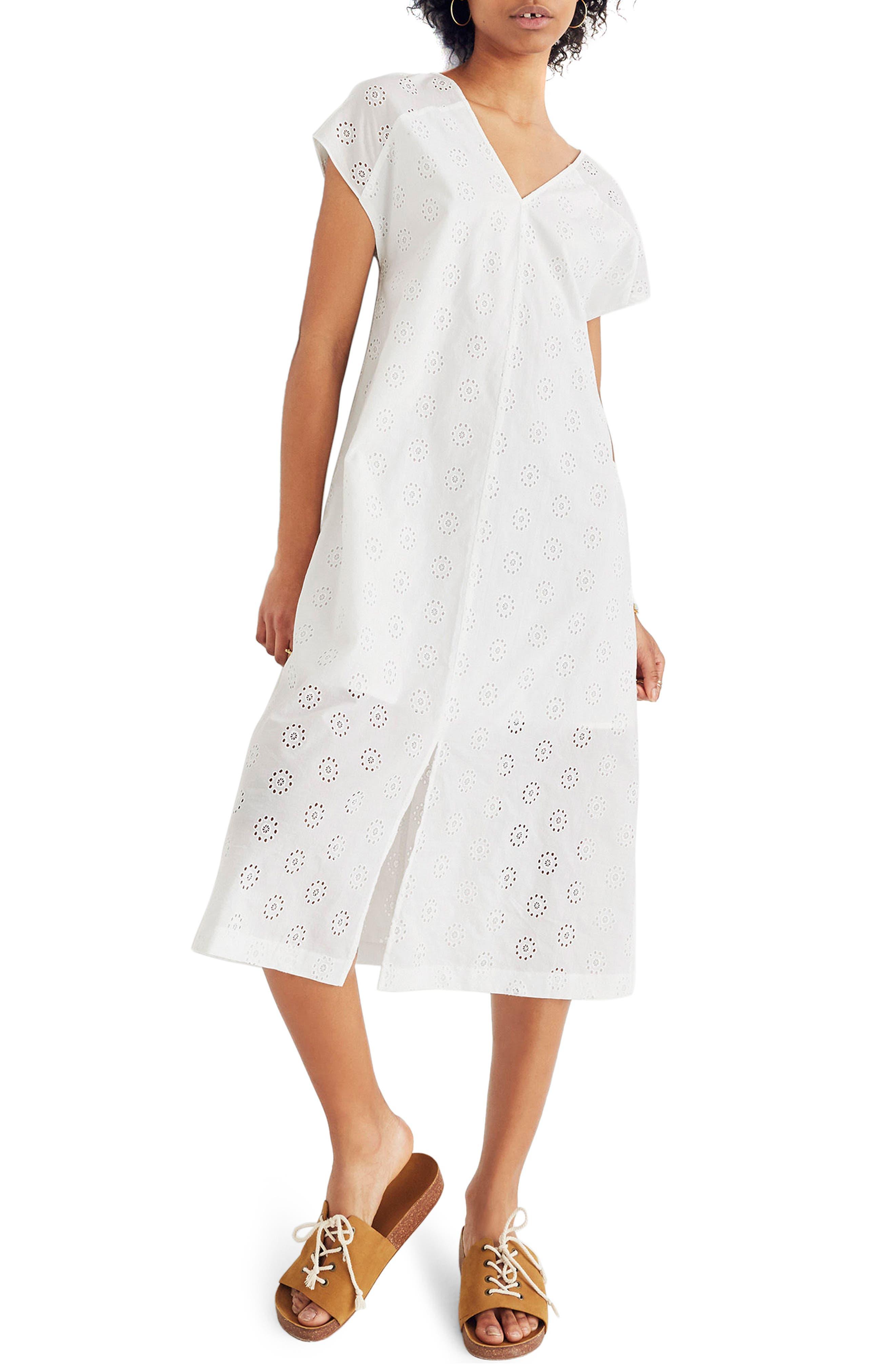 Eyelet Midi Dress,                             Main thumbnail 1, color,                             EYELET WHITE