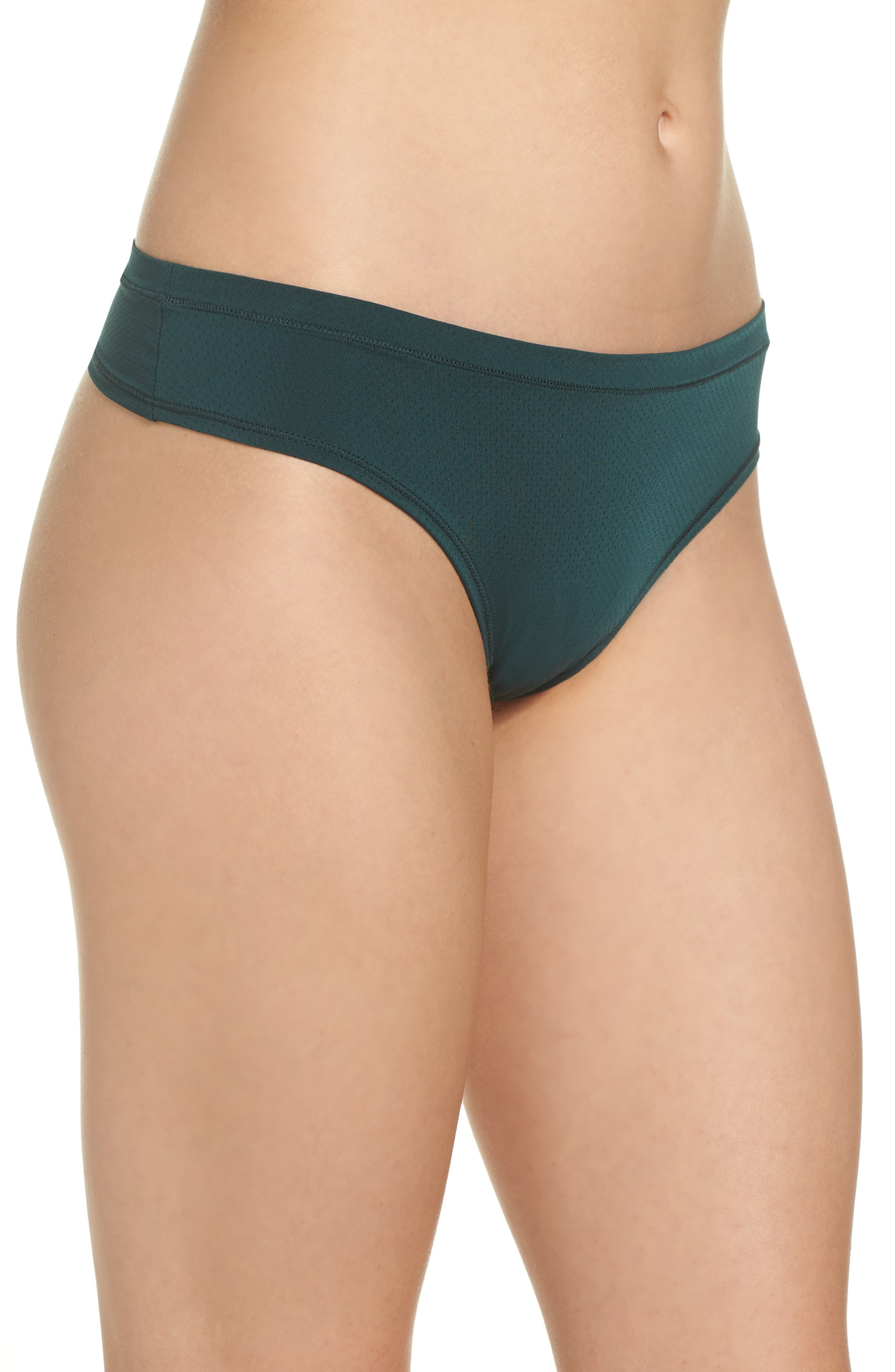 Perforated Active Thong,                             Alternate thumbnail 3, color,                             GREEN PONDEROSA