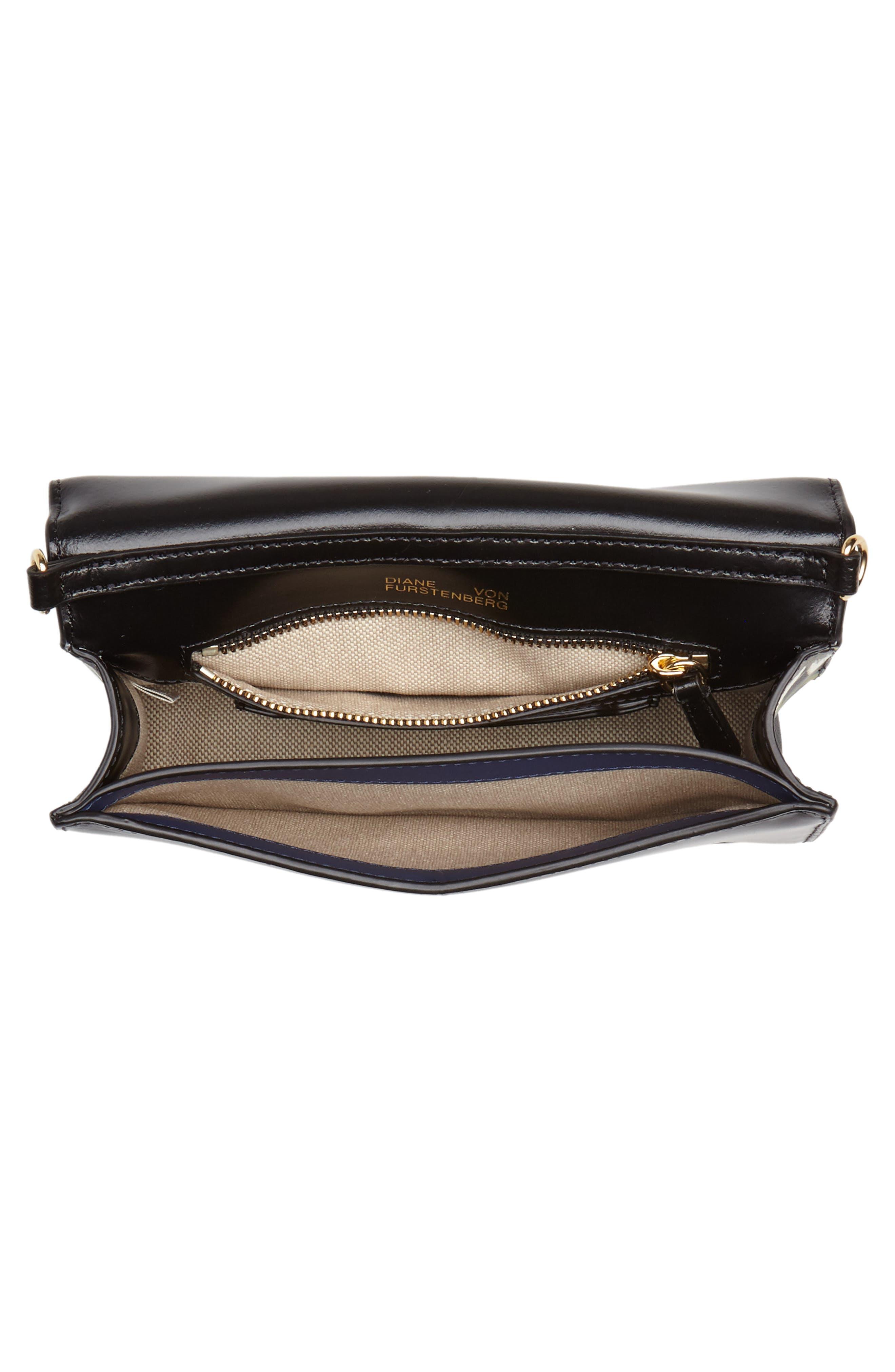 Soirée Leather Convertible Crossbody Bag,                             Alternate thumbnail 5, color,                             001