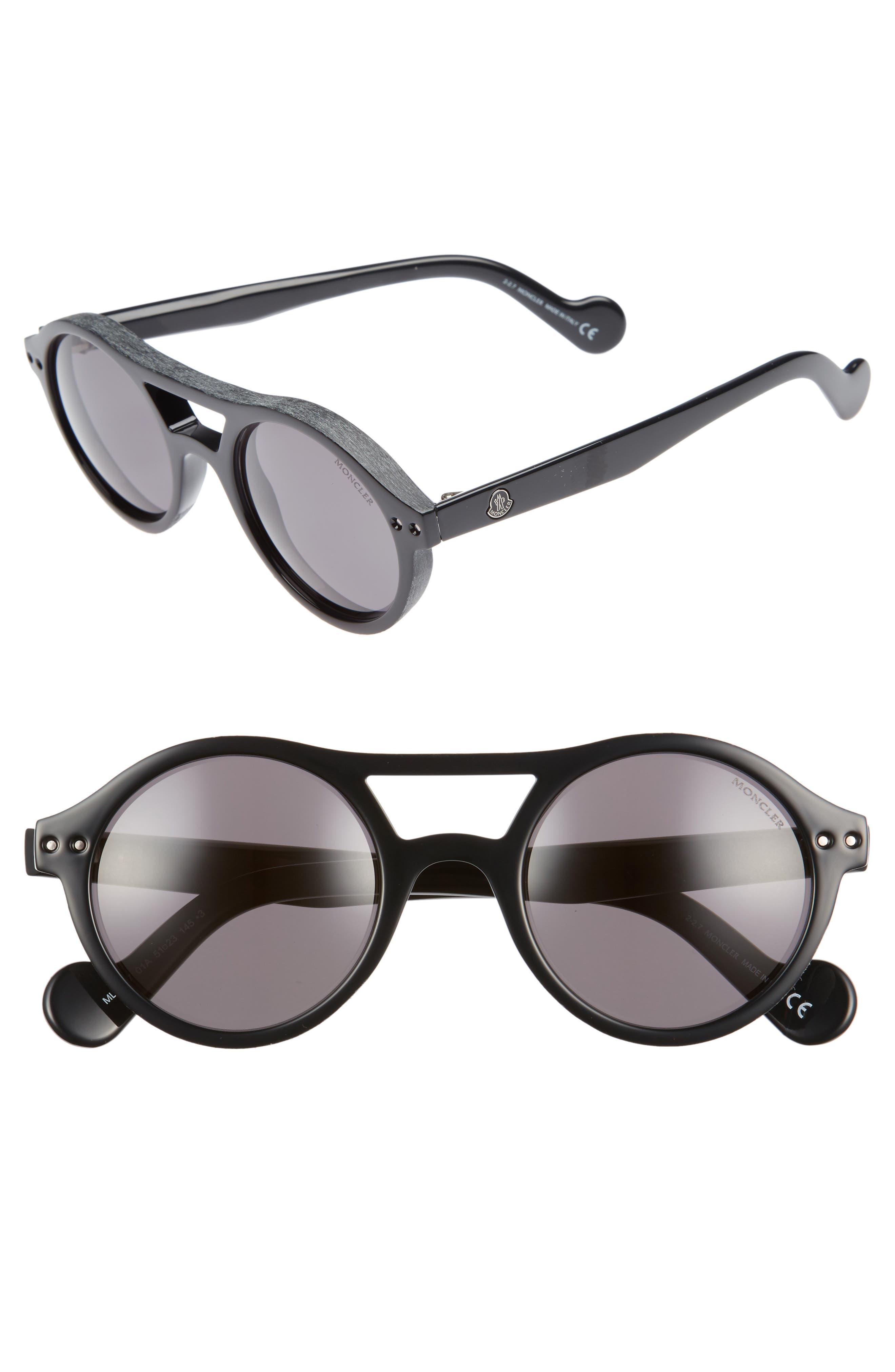 51mm Round Sunglasses,                         Main,                         color, BLACK/ SMOKE