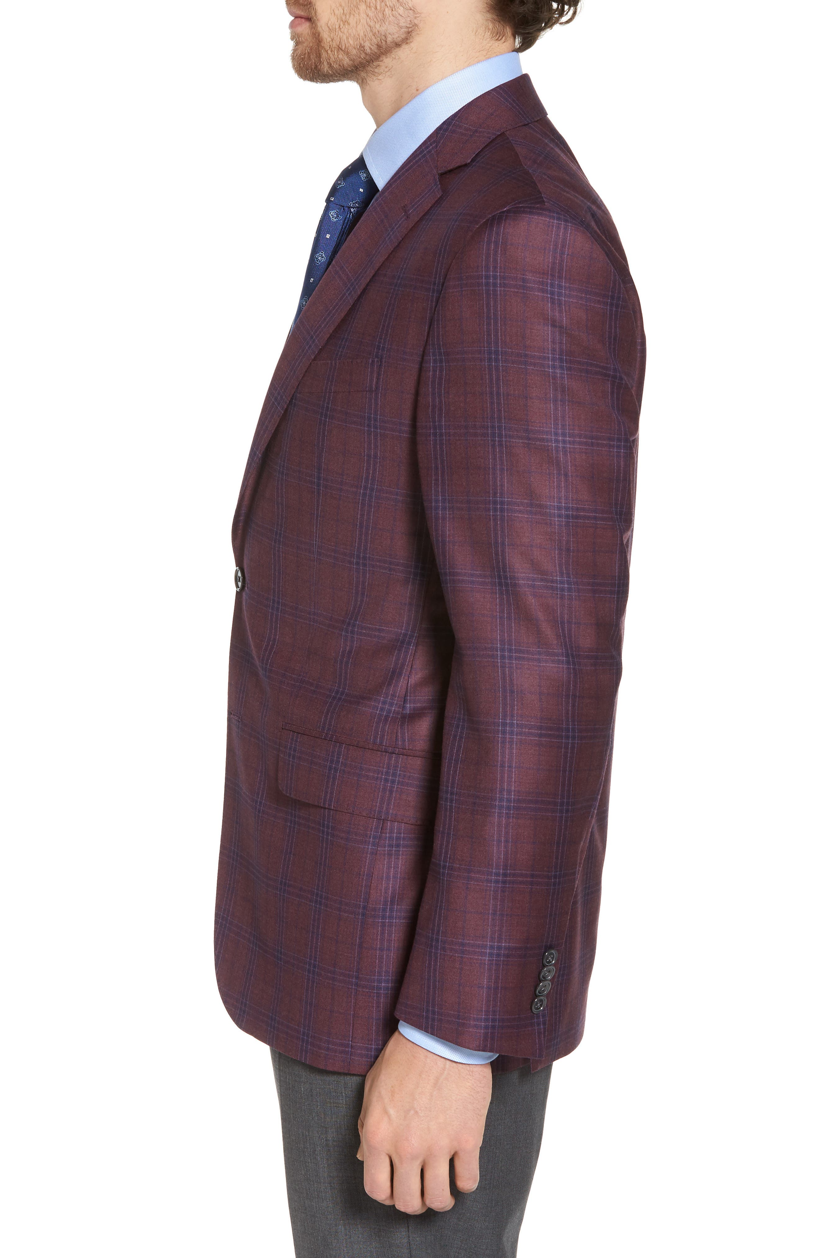 Connor Classic Fit Plaid Wool Sport Coat,                             Alternate thumbnail 3, color,                             930