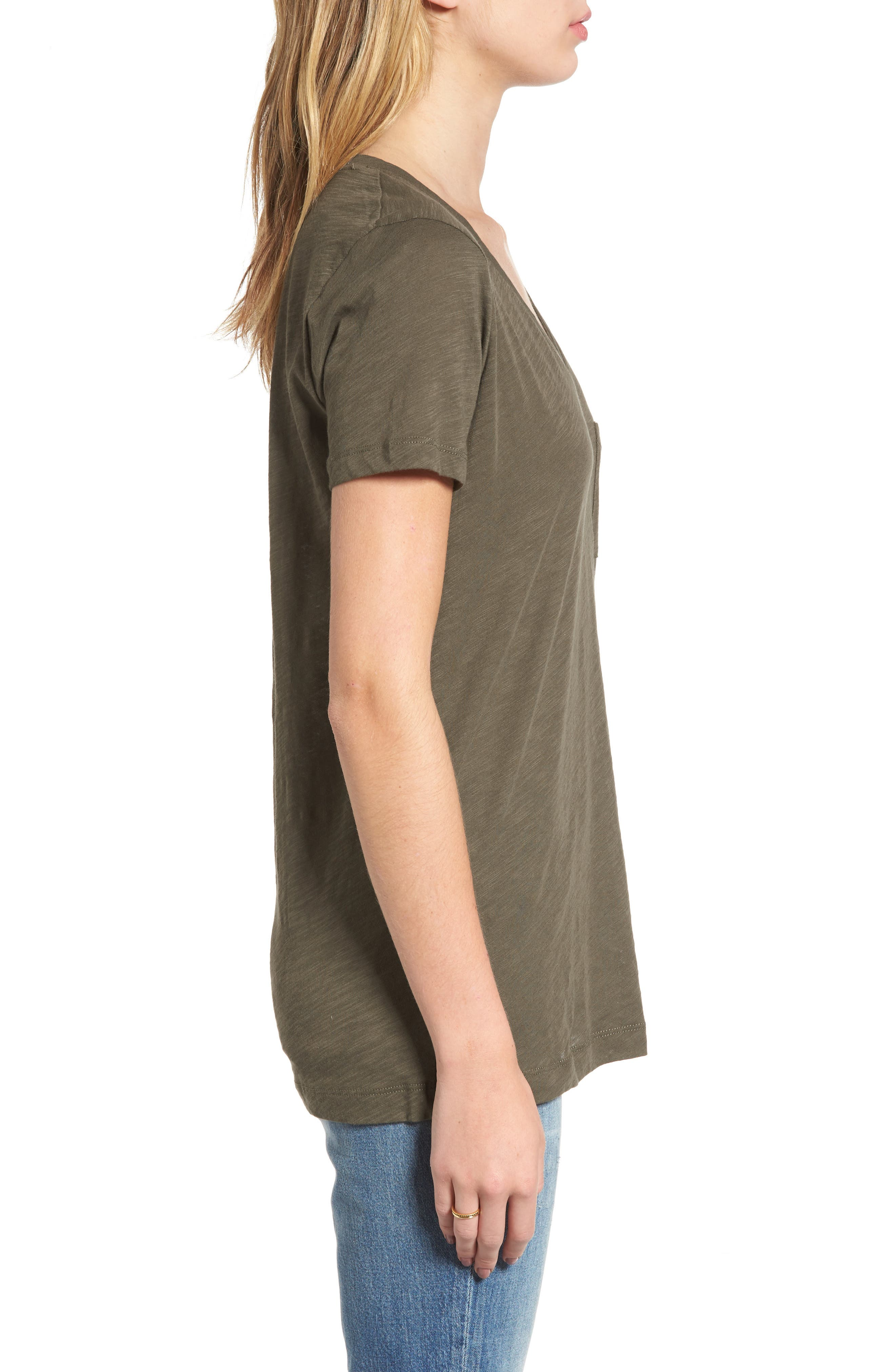 Whisper Cotton V-Neck Pocket Tee,                             Alternate thumbnail 88, color,