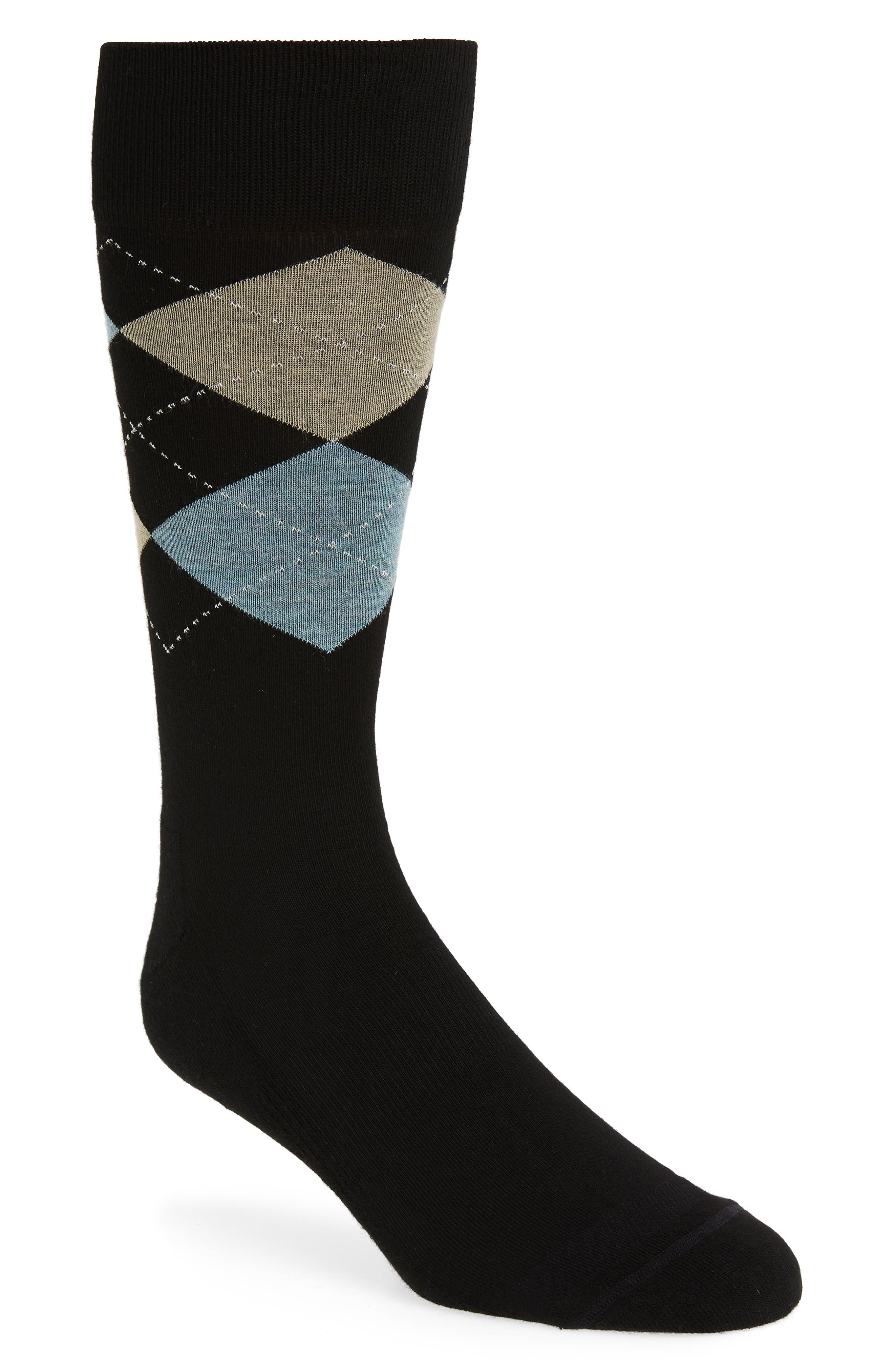 Argyle Dress Socks,                         Main,                         color, BLACK/ TAUPE