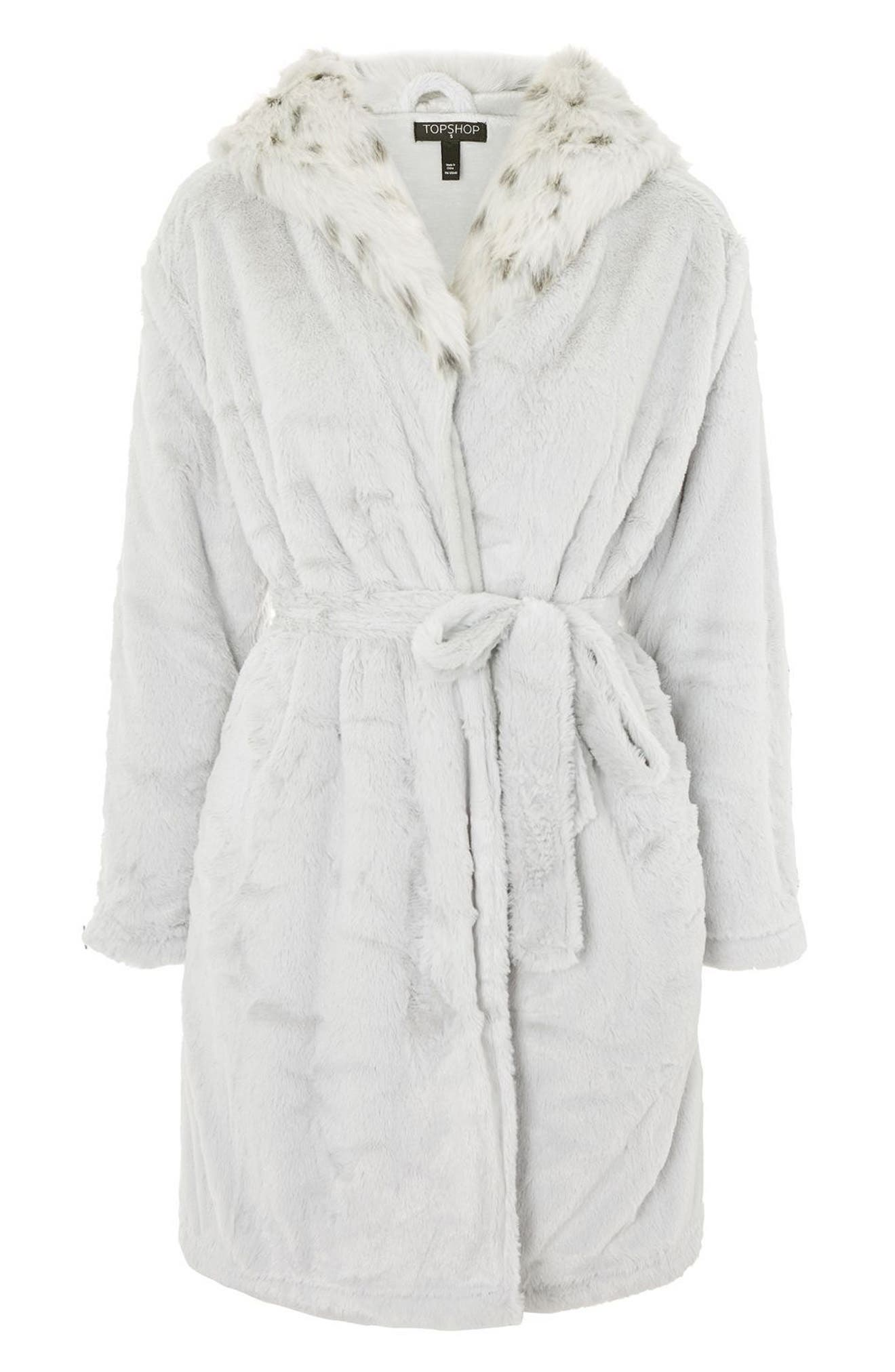 Faux Fur Hooded Short Robe,                             Alternate thumbnail 3, color,                             020
