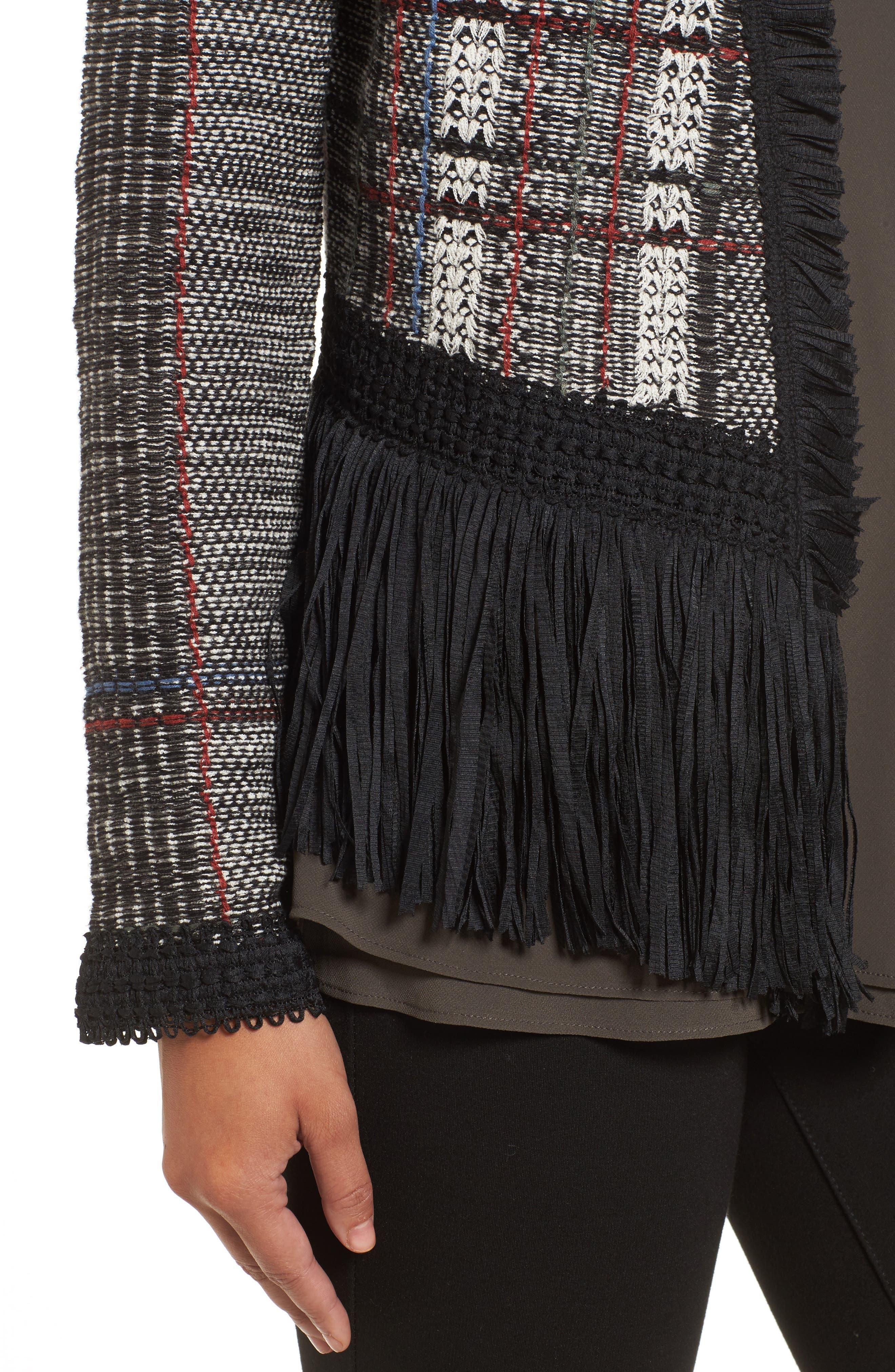 Plaid Tweed Fringe Jacket,                             Alternate thumbnail 4, color,                             090