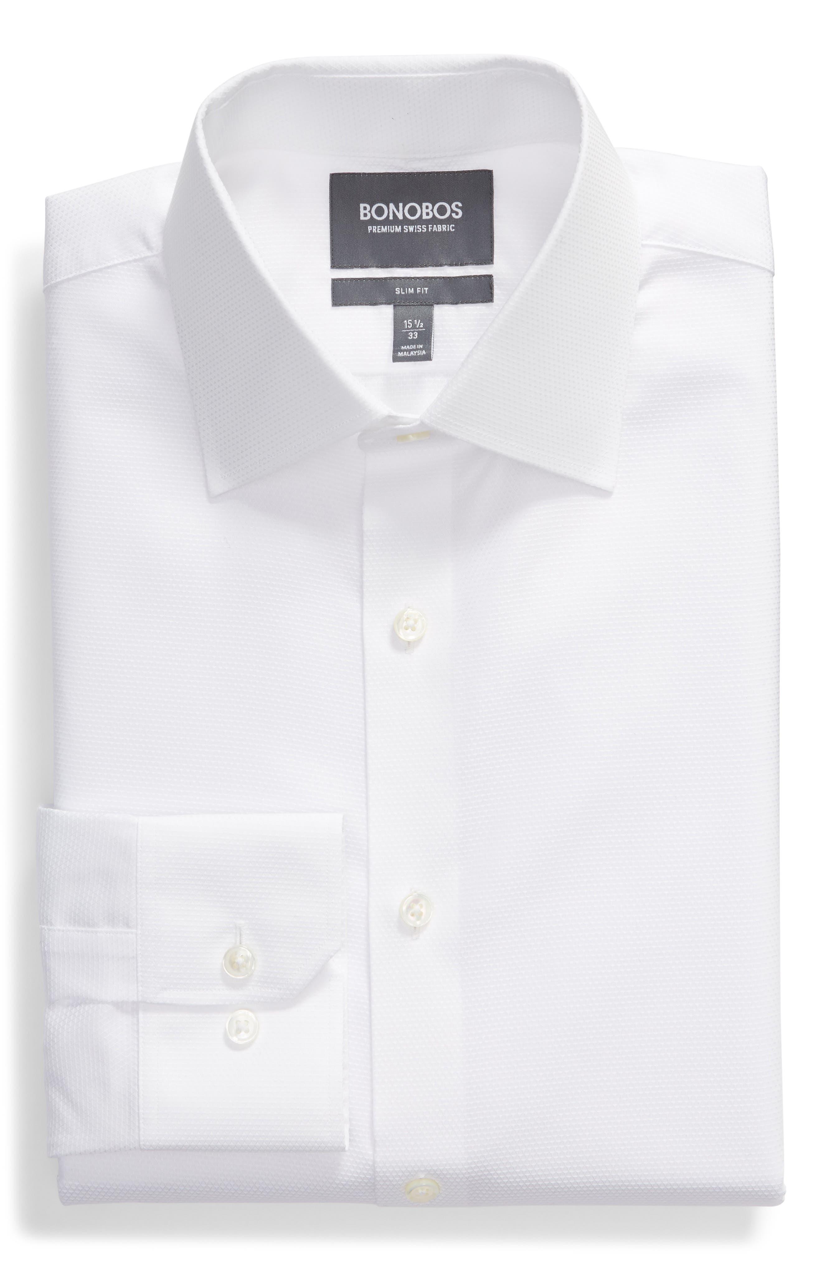 Slim Fit Solid Dress Shirt,                             Alternate thumbnail 5, color,                             WHITE