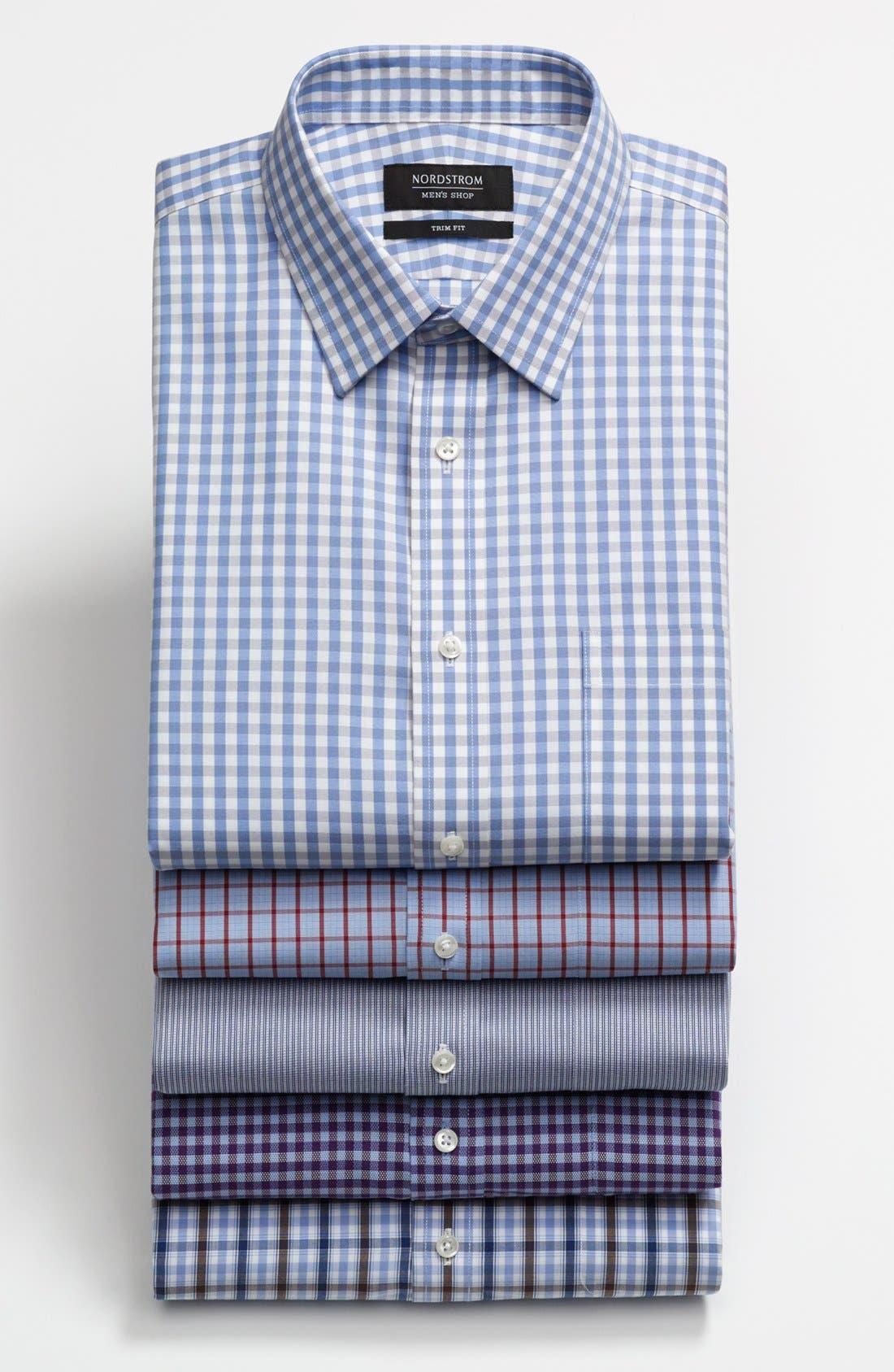 Smartcare<sup>™</sup> Trim Fit Plaid Dress Shirt,                             Alternate thumbnail 3, color,                             938