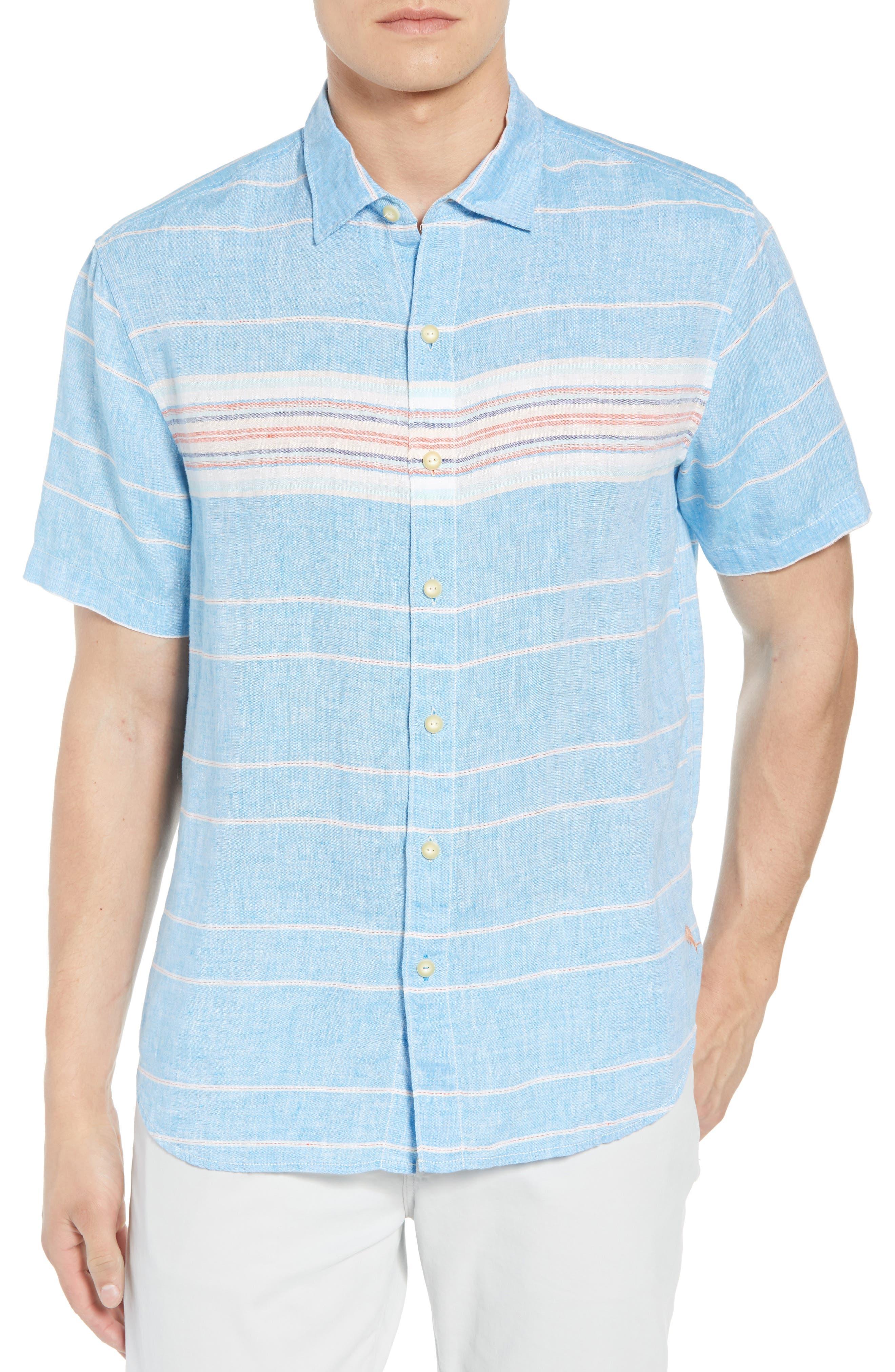 Serape Stripe Linen Sport Shirt,                         Main,                         color, BLUE ASTER
